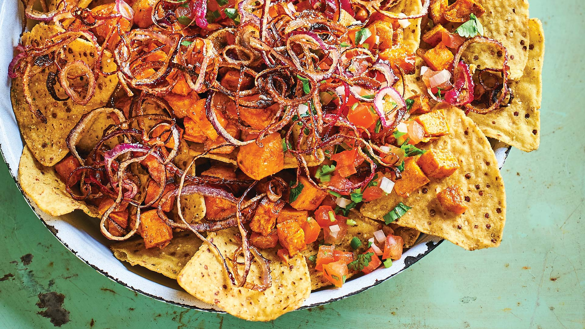 Vegan sweet potato nachos with crispy onions
