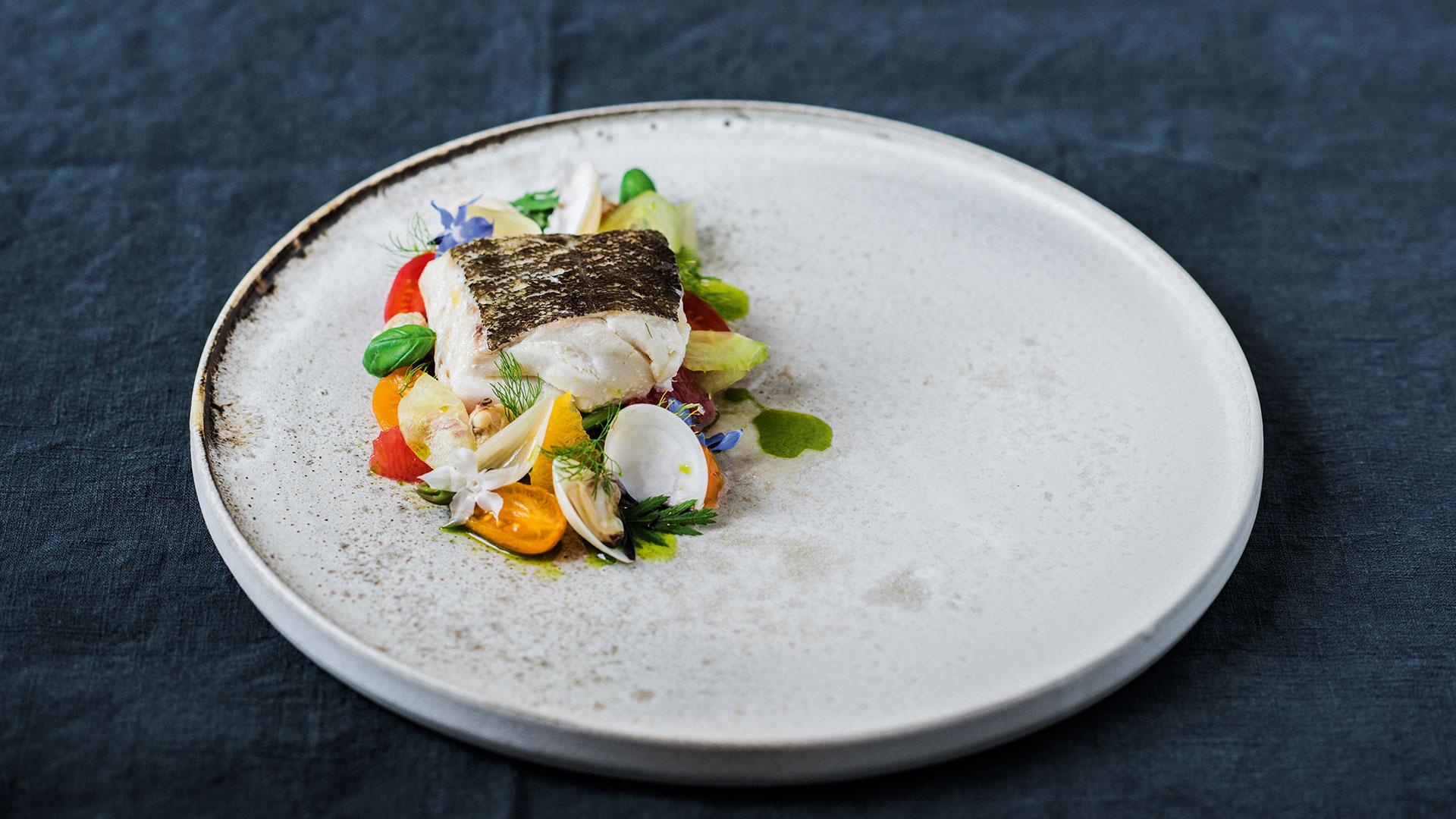 Simon Hulstone's Norwegian cod with clams