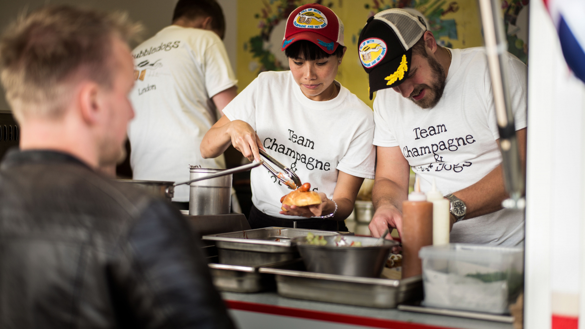 Sandia Chang and James Knappett at Copenhagen's World Hot Dog Championships