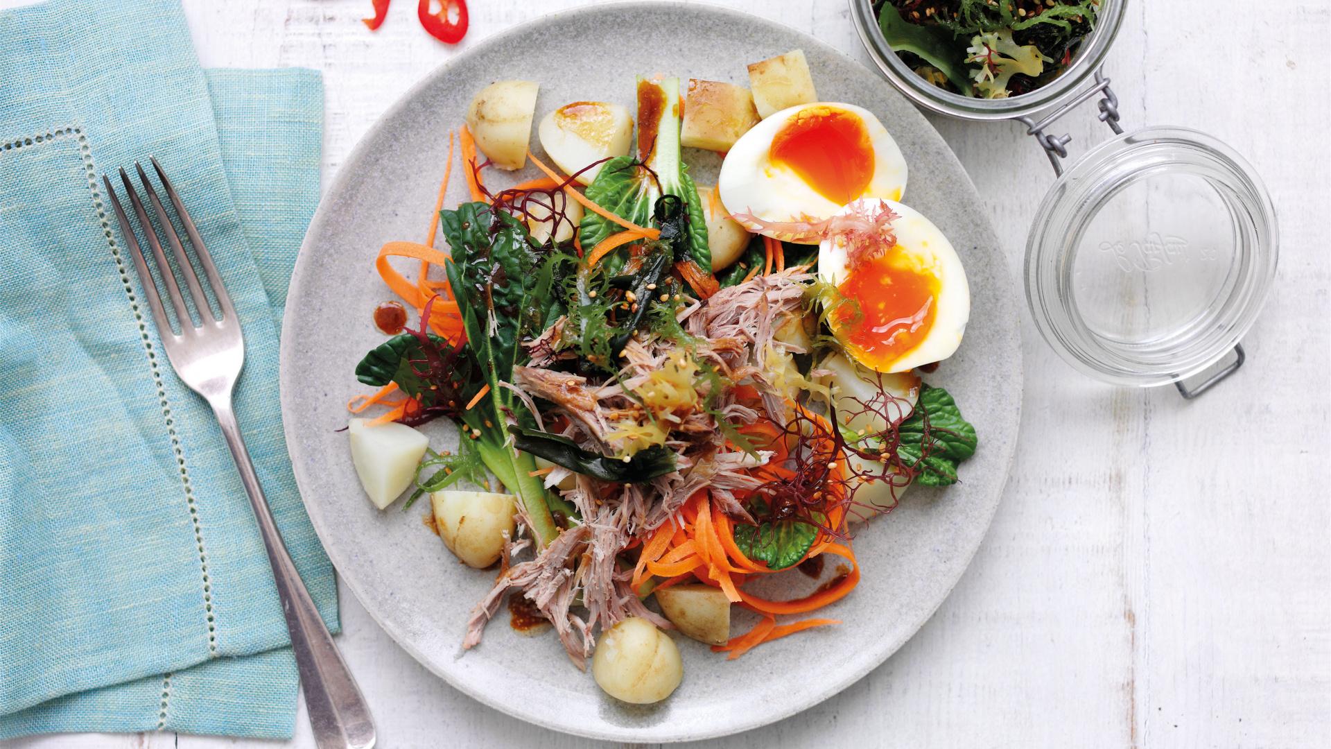 Warm Jersey Royal and seaweed salad