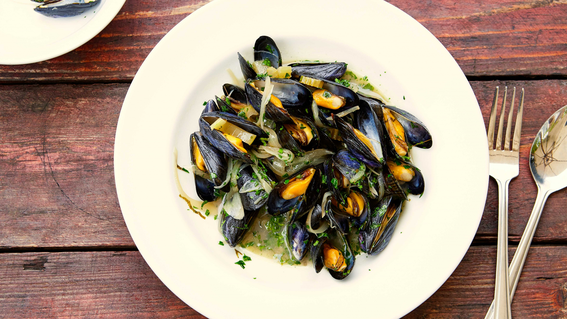 Margot Henderson's steamed mussels with celery and white wine