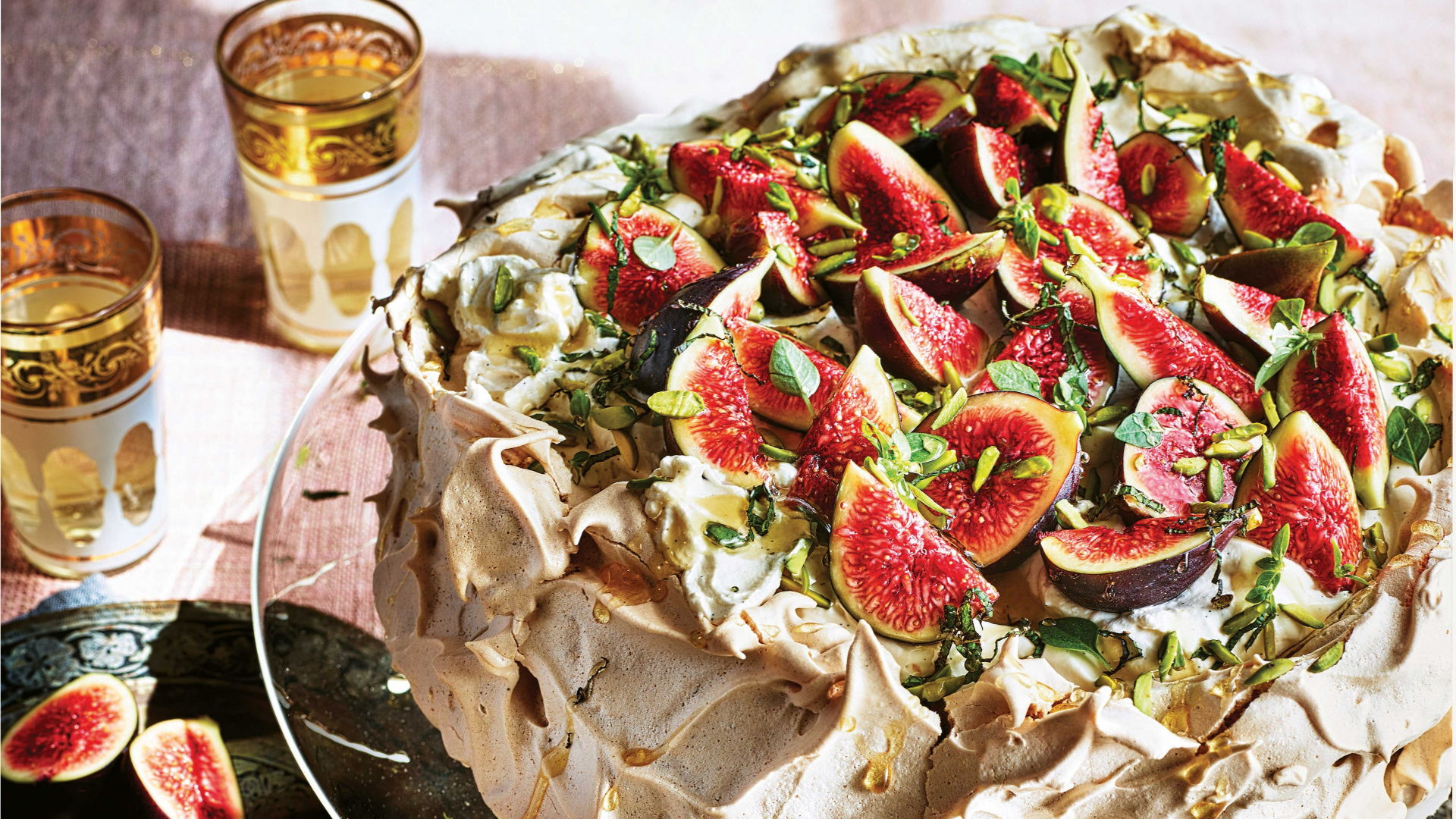 Sabrina Ghayour's cinnamon pavlova with sweet labneh cream