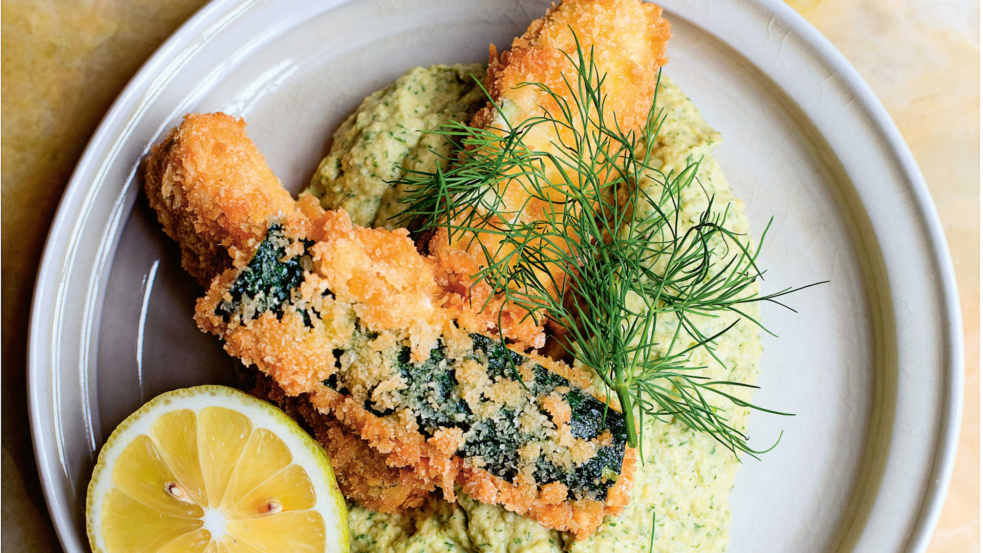 Make Nigel Slater's deep-fried courgettes and dill hummus