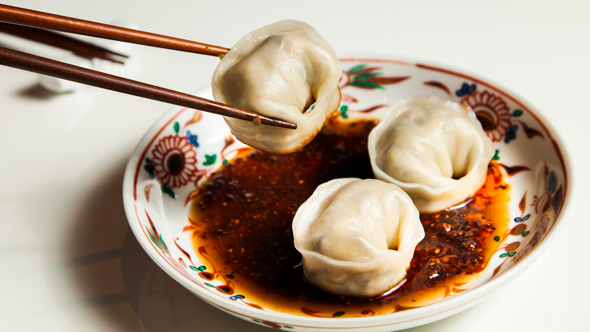 BAO's boiled mushroom dumplings with red chilli oil