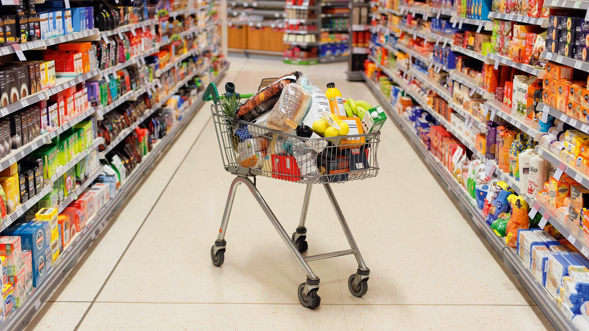 Supermarket shopping: a trolley full of food