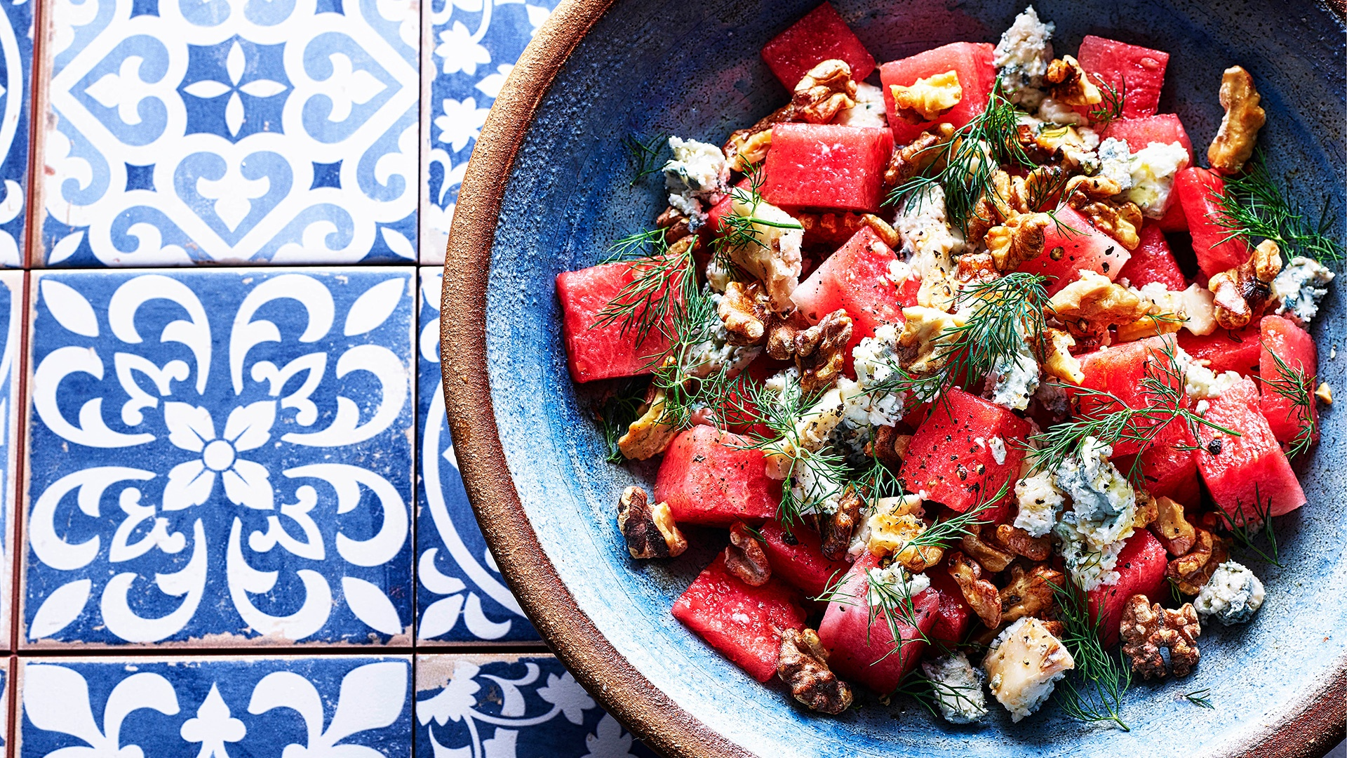 Make Ben Tish's watermelon and salty blue cheese salad; photography by Kris Kirkham