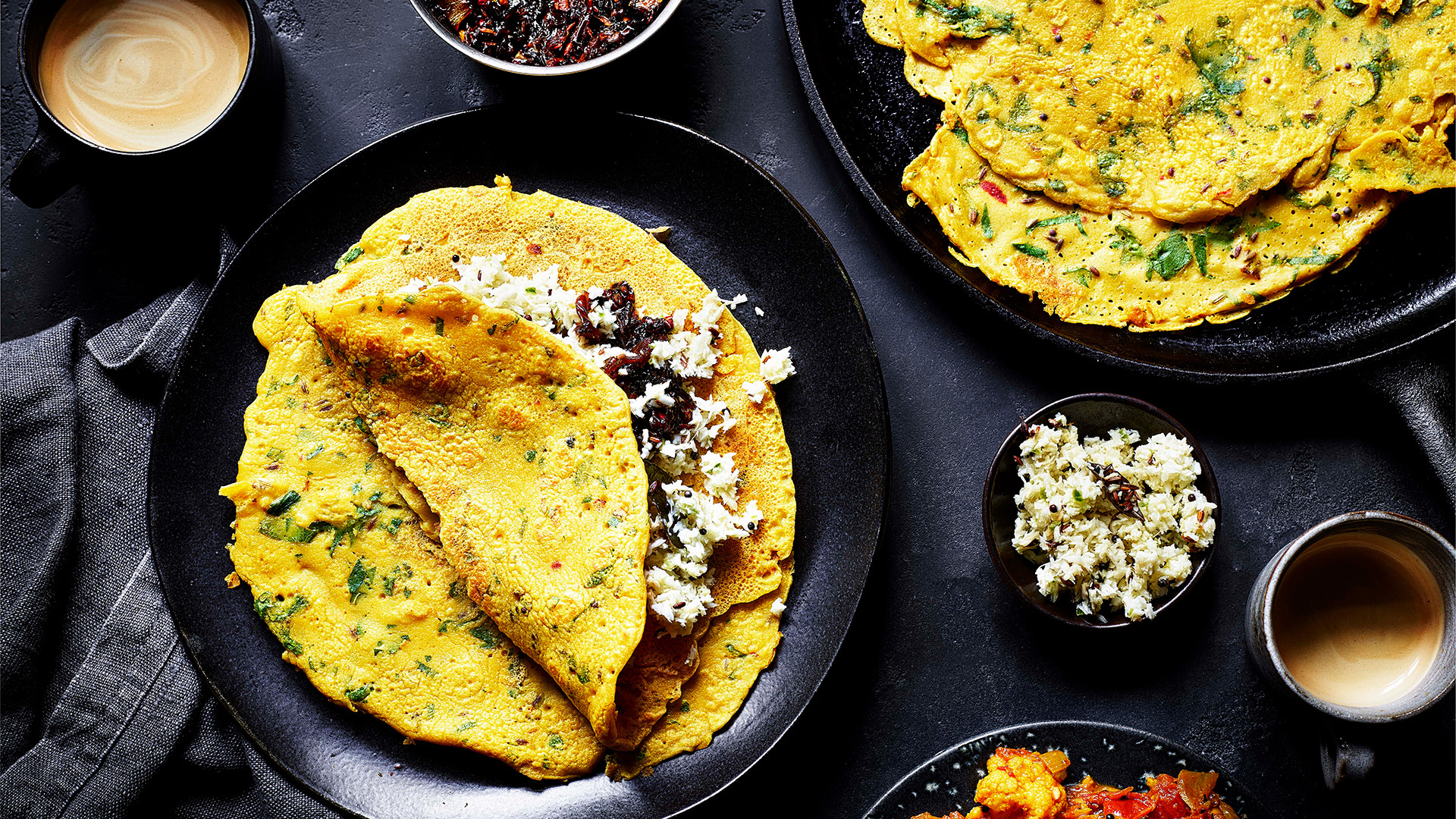 Spiced crêpes with coconut chutney and sweet onion chutney
