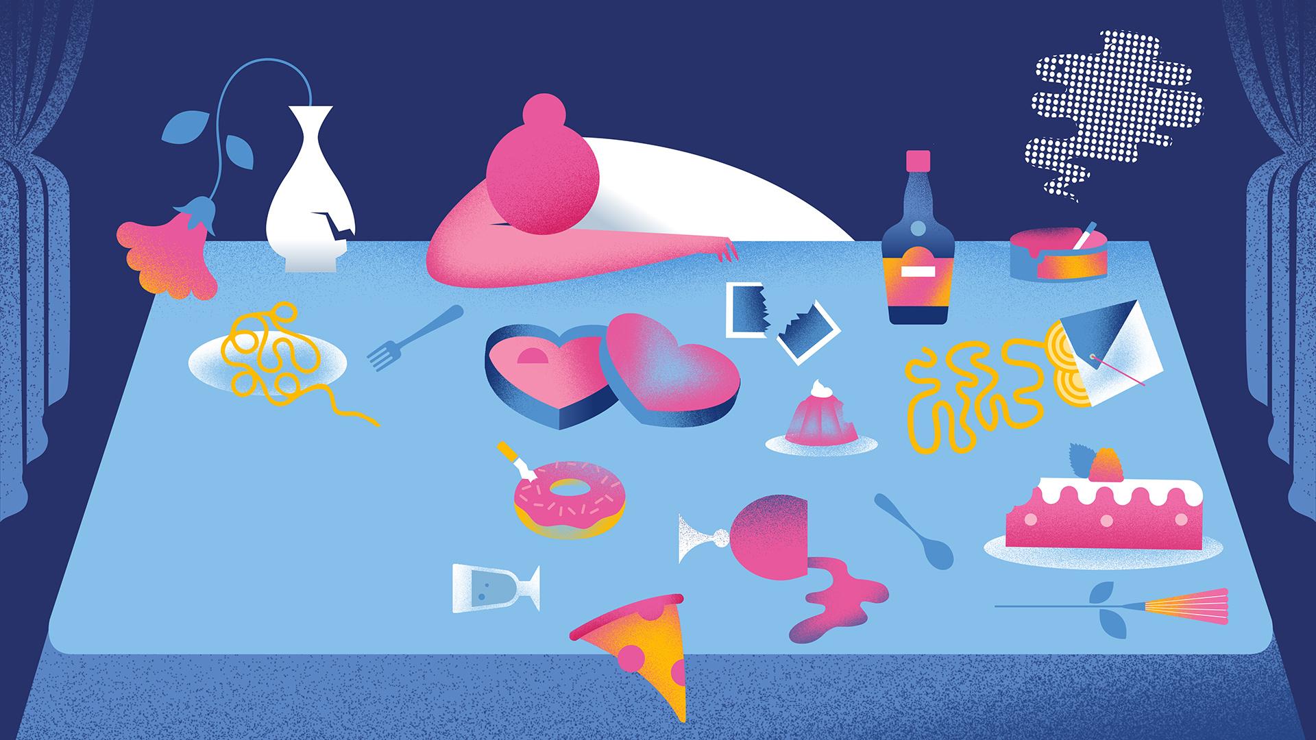 Break-up food; Illustrations by Bárbara Malagoli