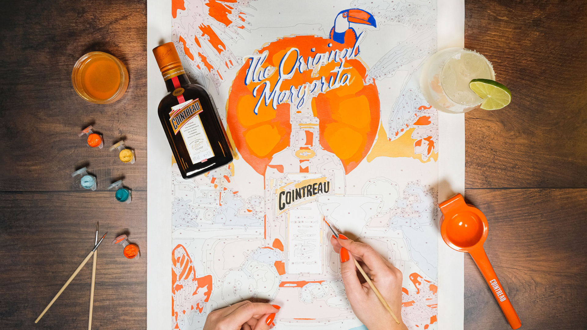 Cointreau's margarita and paint by numbers kit