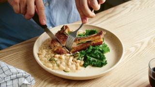 Ed Smith Crave | lamb chops with cacio e pepe beans