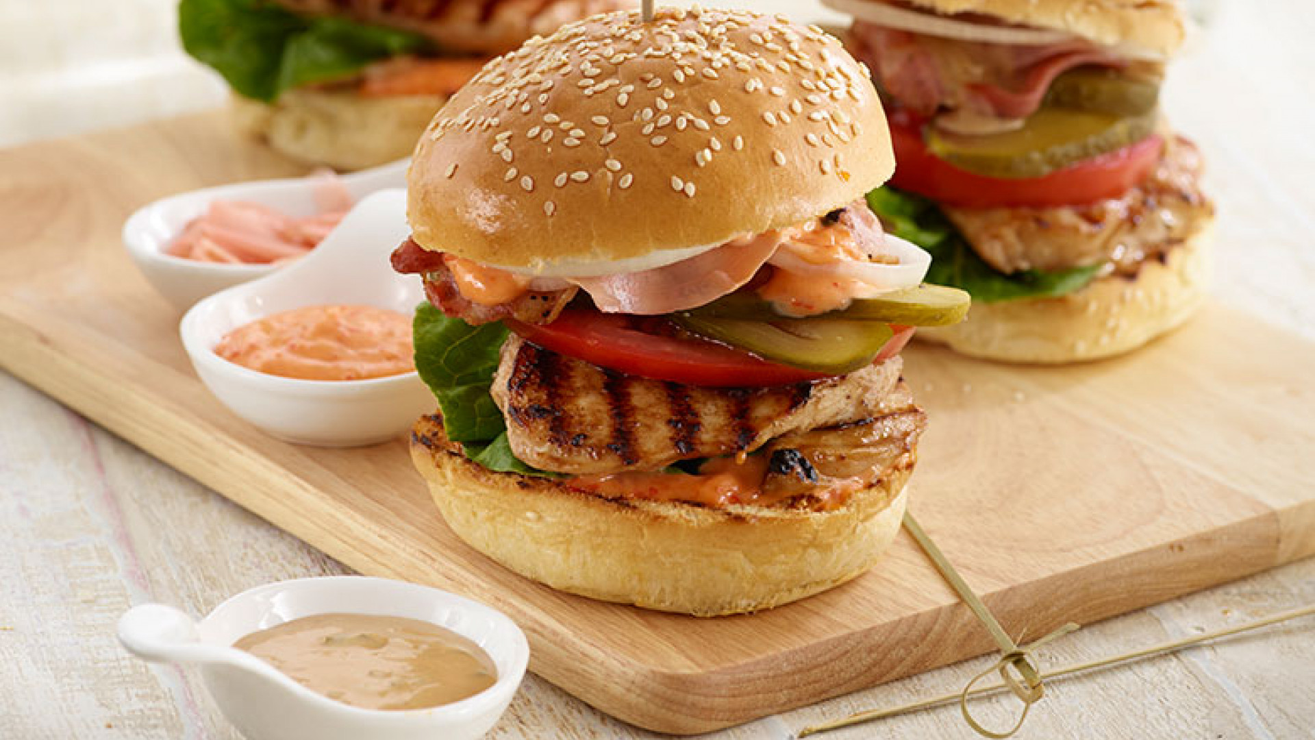 Chicken burger with oyster sauce marinade and teriyaki mayonnaise