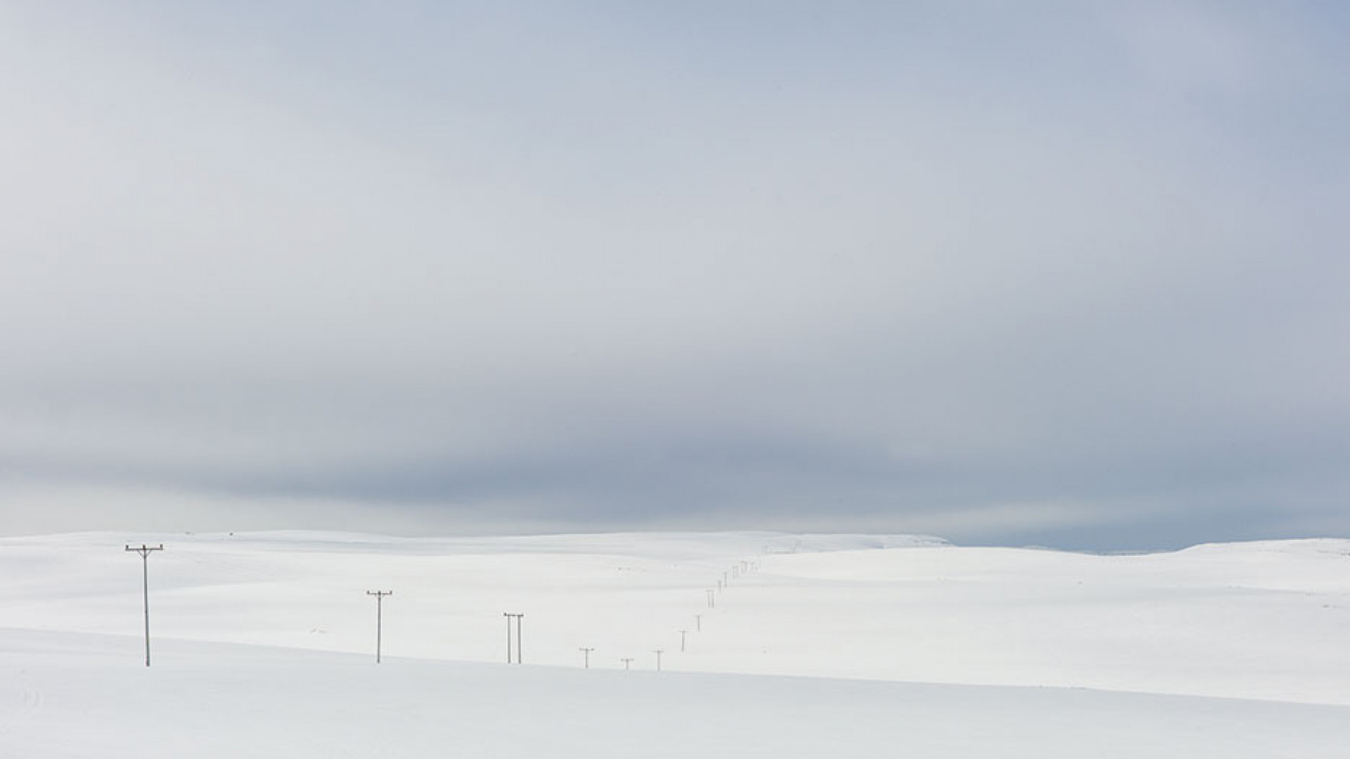 Power lines close to North Cape, Norway