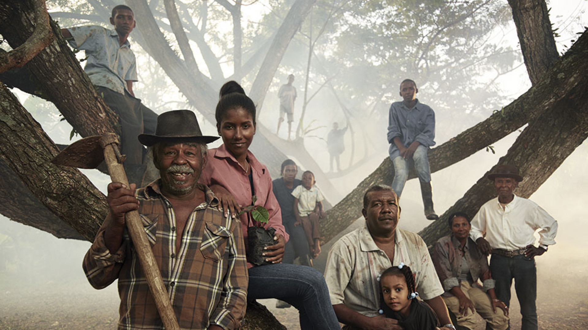 A family of farmers in the mountains of the Dominican Republic
