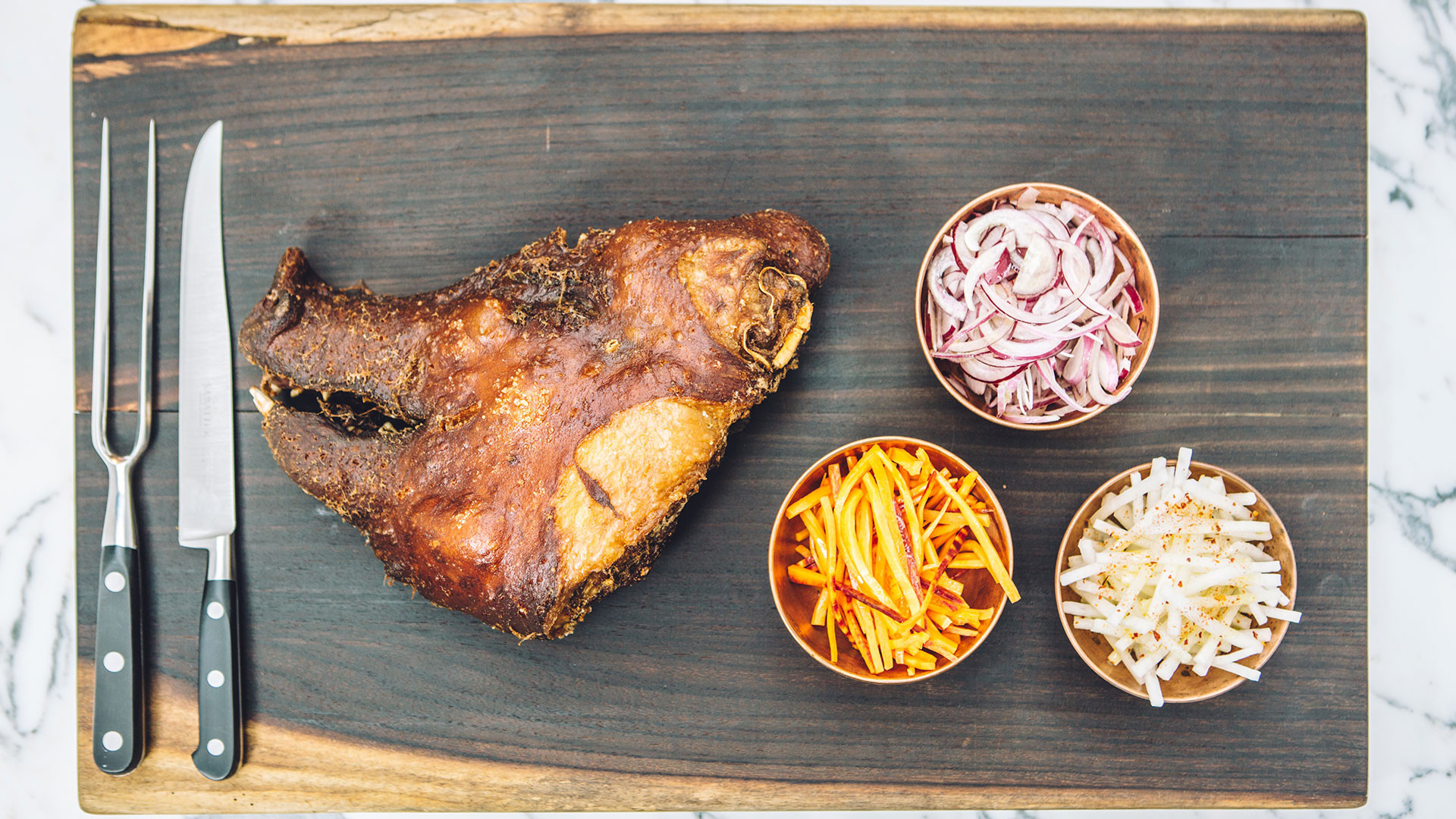 The rare-breed pig's head large bab from Le Bab