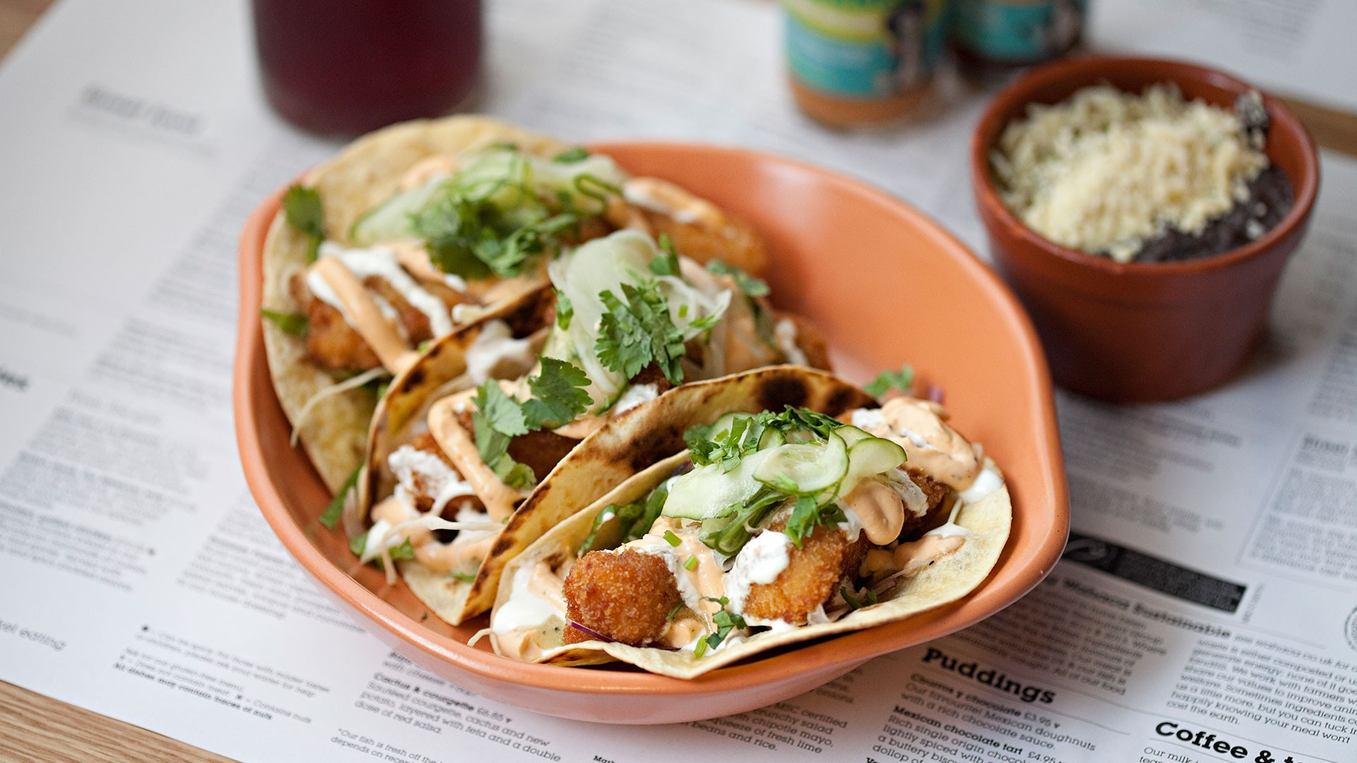 Wahaca's Baja-style fish tacos with homemade cucumber pickle