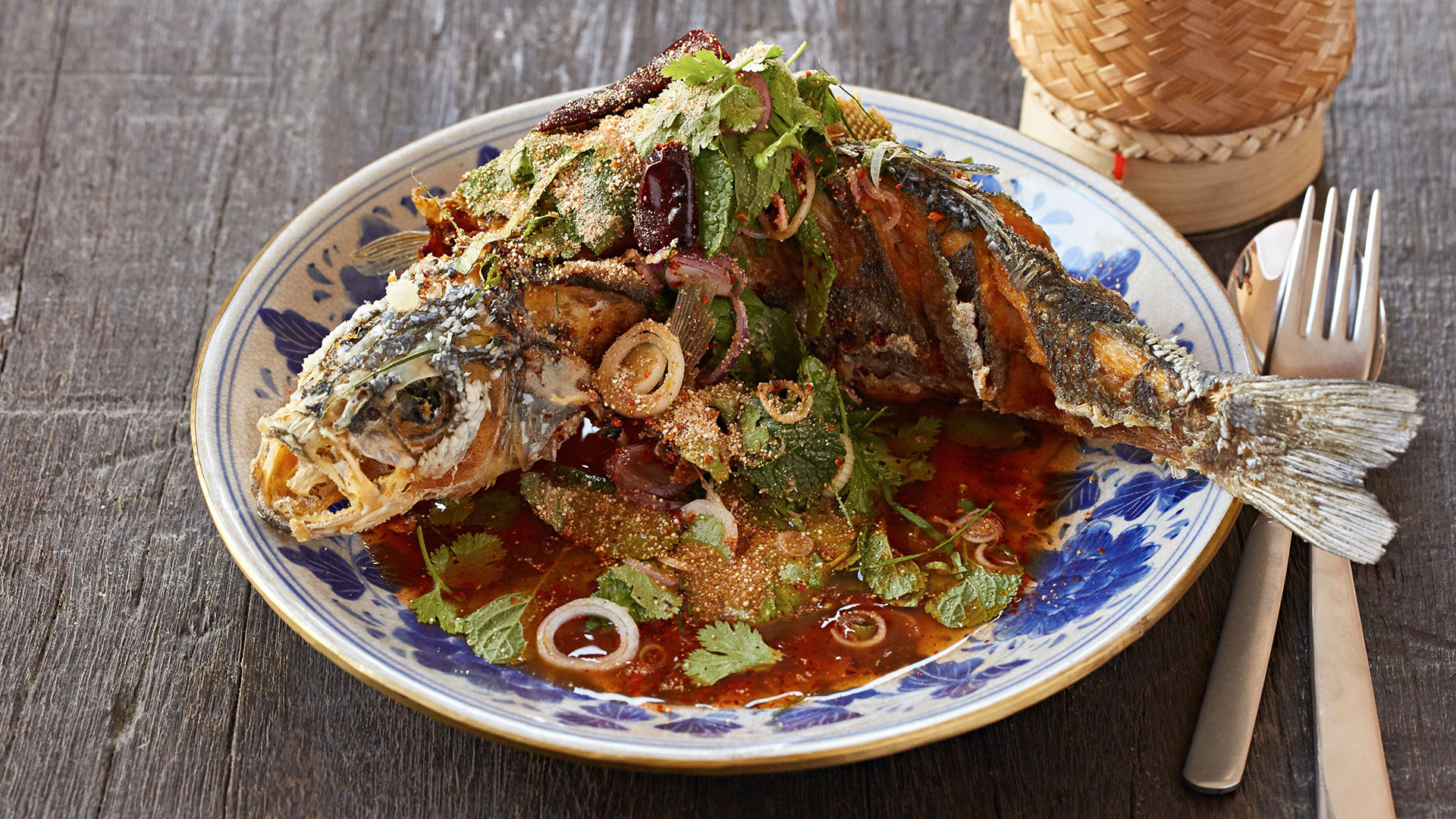 Som Saa's whole deep-fried sea bass