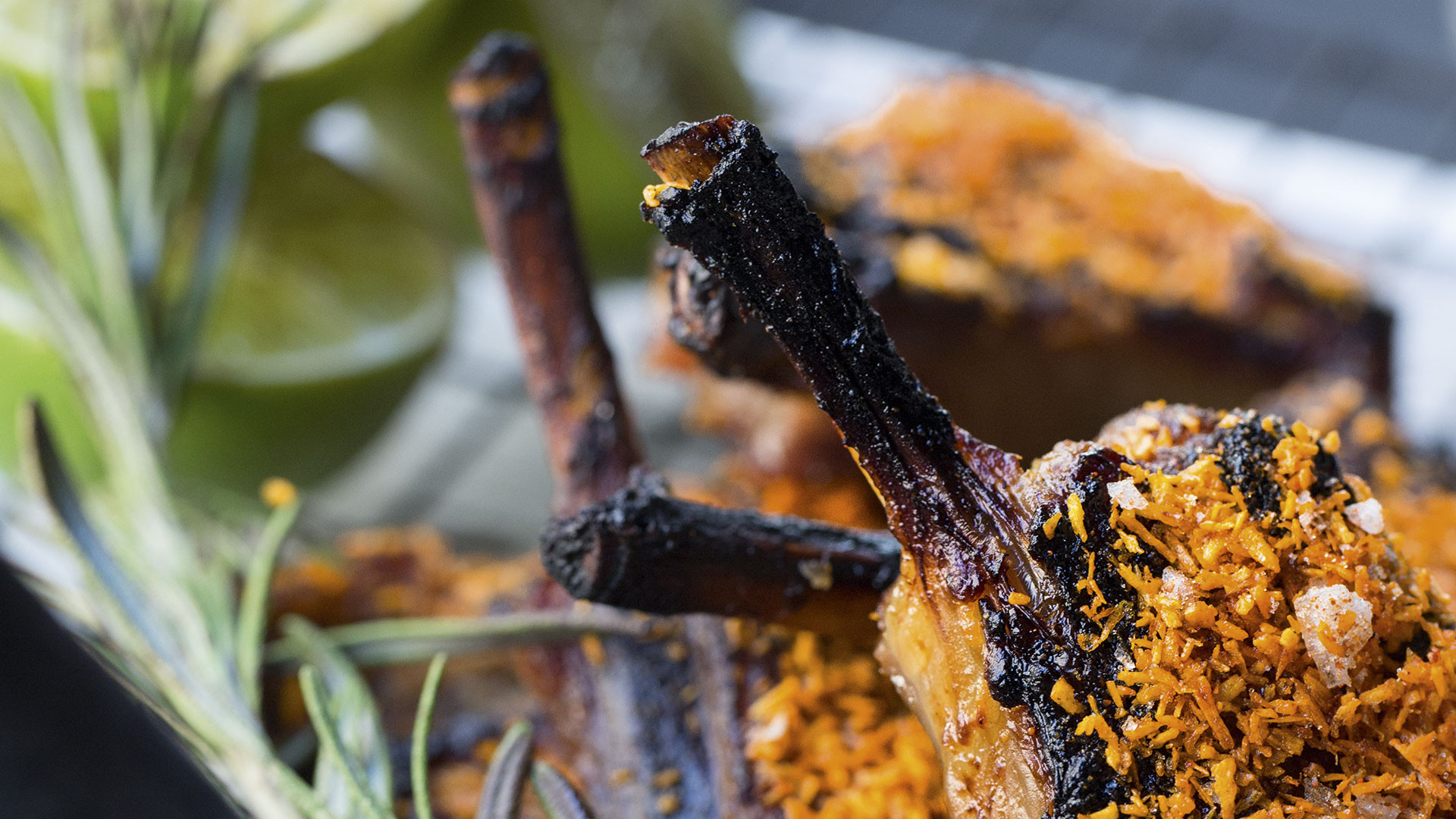 Barbecued lamb chops from poké bar Black Roe