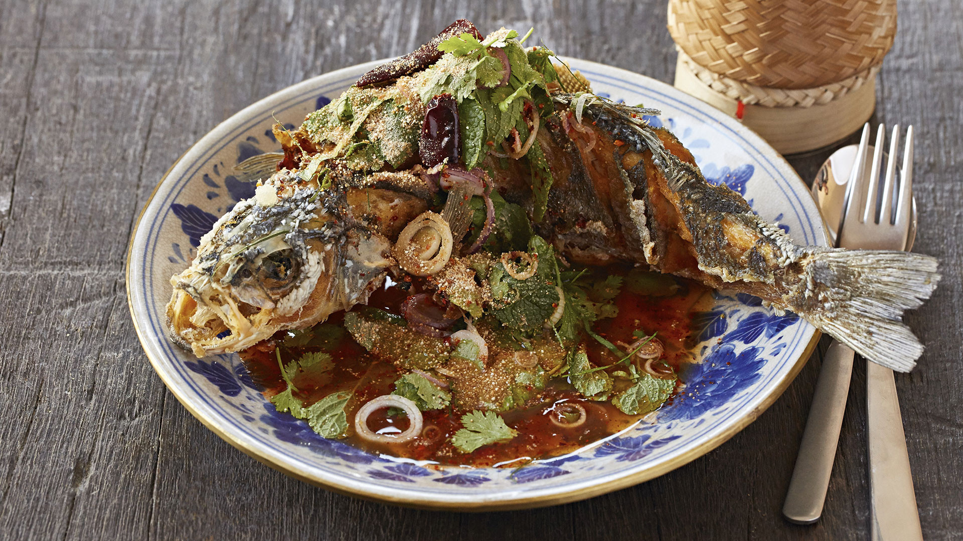Deep-fried whole sea bass from Thai restaurant Som Saa