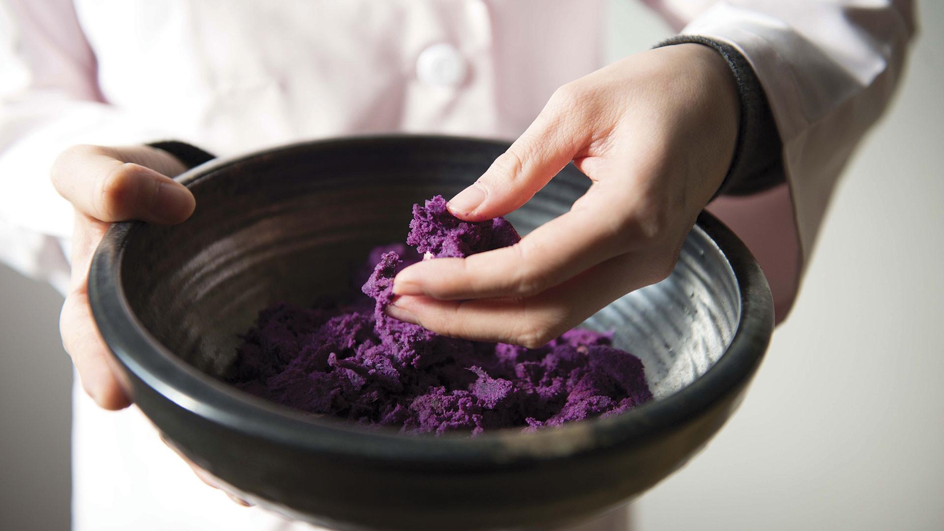 Preparing the main ingredient for shōchū – sweet potato