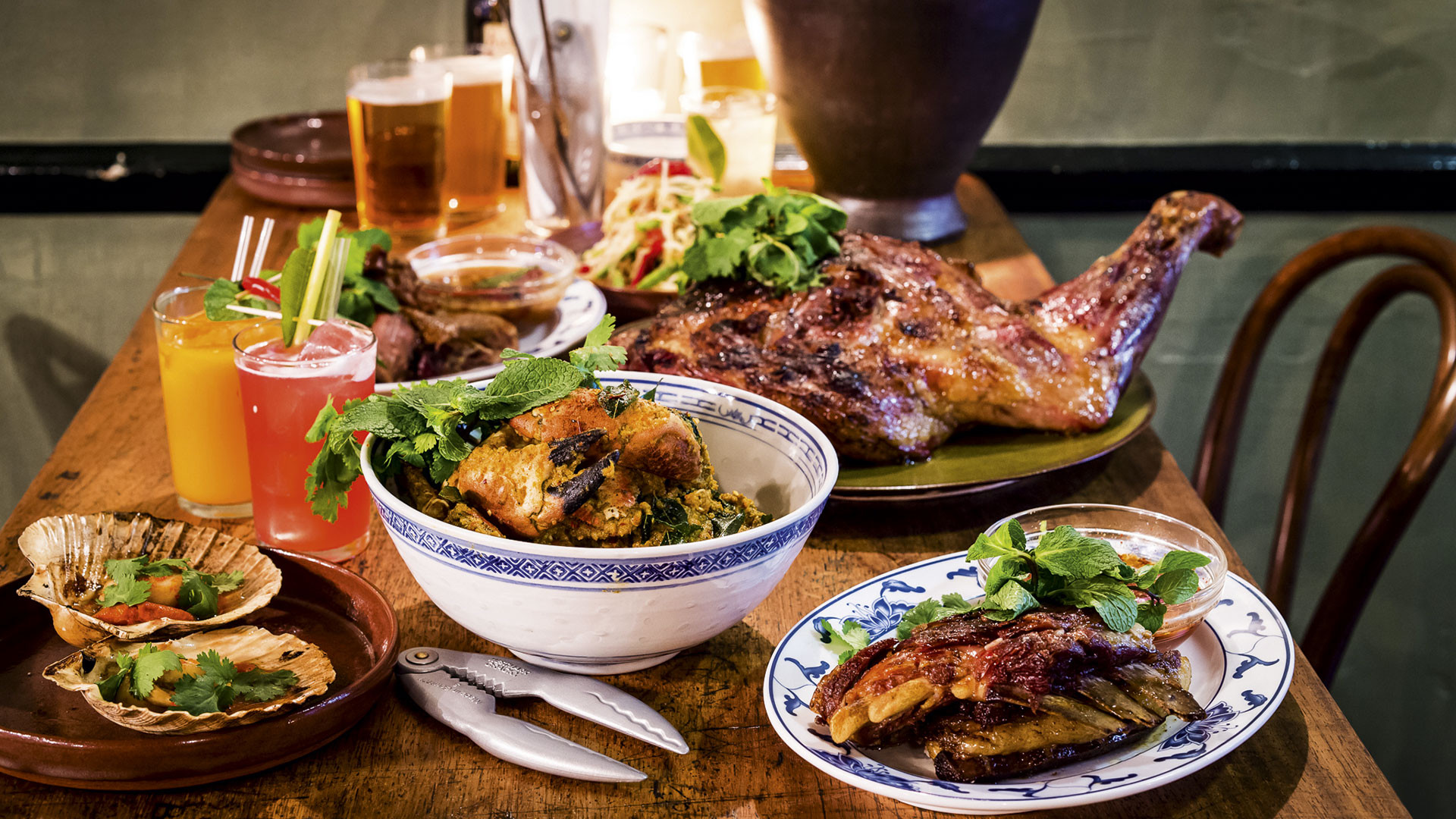 A selection of dishes at Ben Chapman's Soho restaurant Smoking Goat