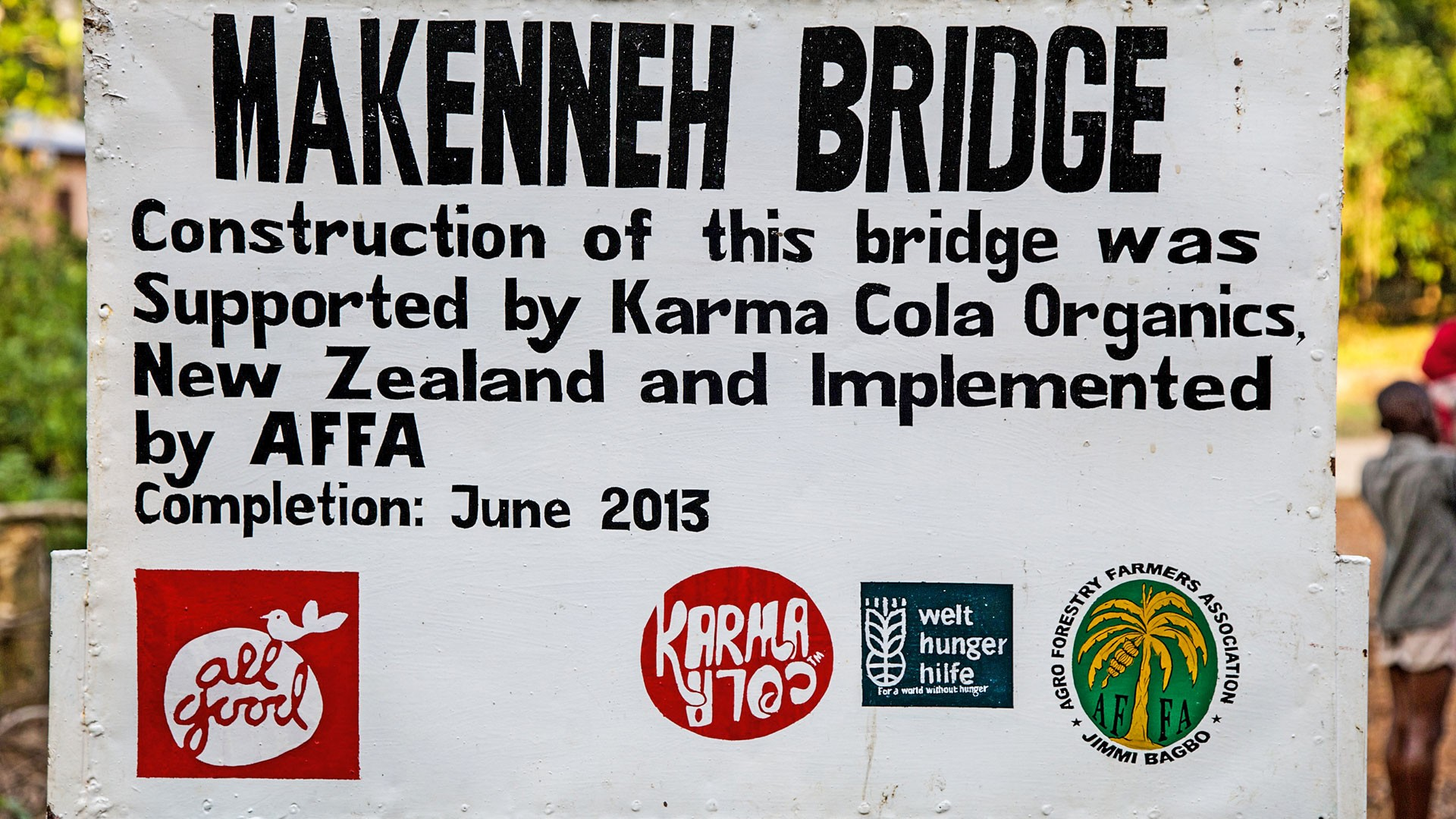 The sign by the Makenneh Bridge