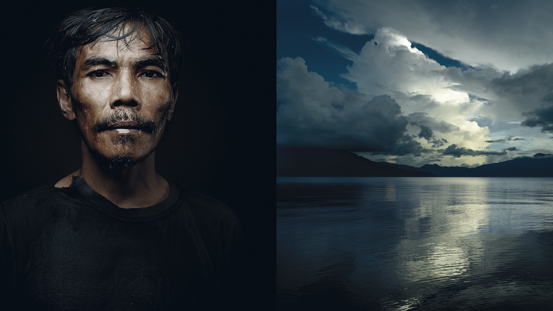 The magical waters of Lake Tanjung seem to be mirrored in the lips of a coffee grower