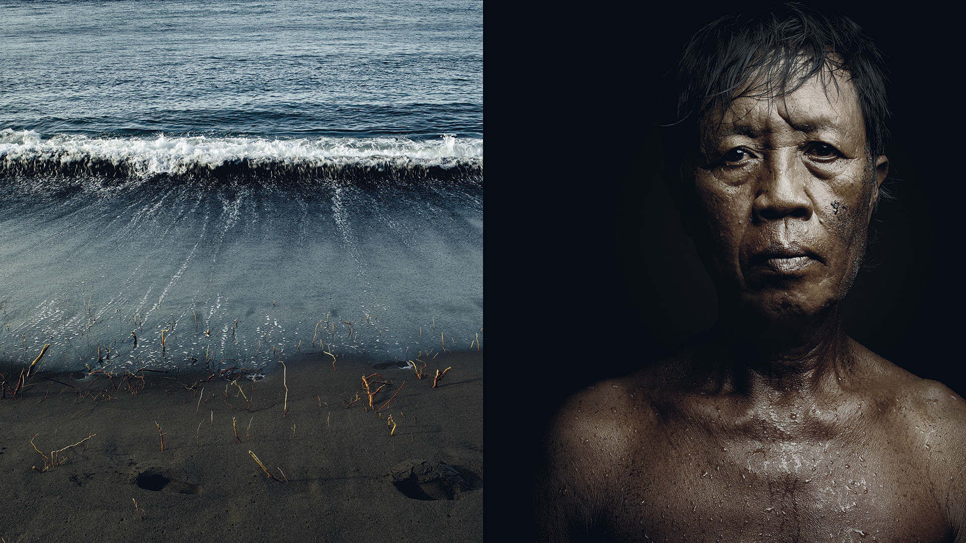 The waves irrigating the black sand of Kusamba — and which lead to the production of the purest sea salt — break over the body of a salt farm worker, shaping his face.
