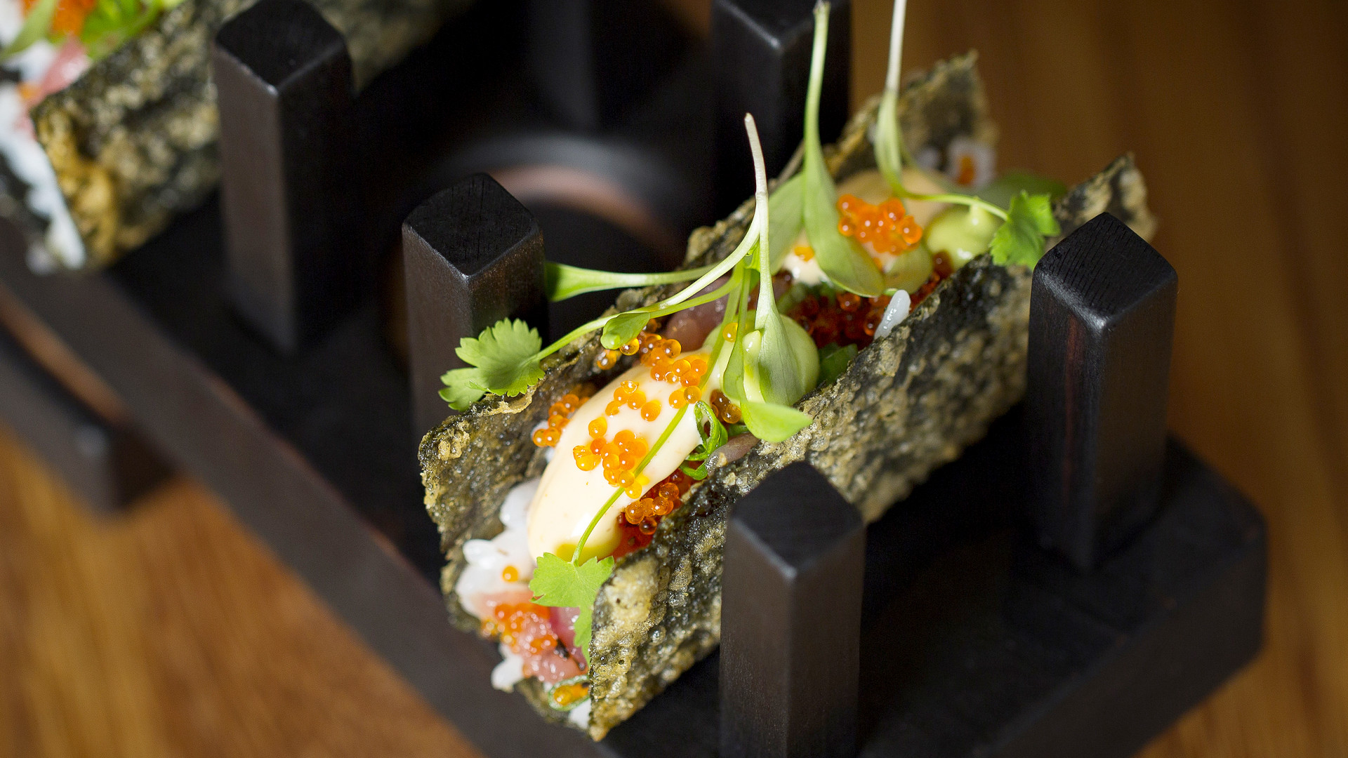 Open Temaki of Toro tartare, scallion tobiko, sushi rice, spiced mayonnaise