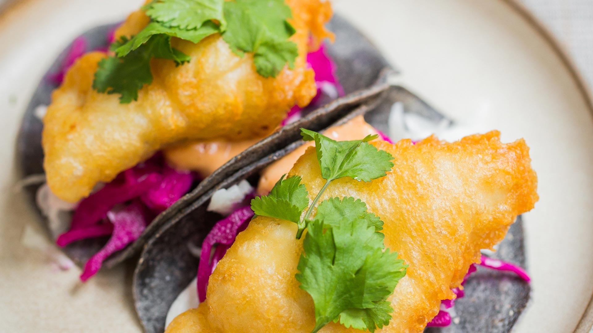 The baja fish tacos at Corazón, Soho