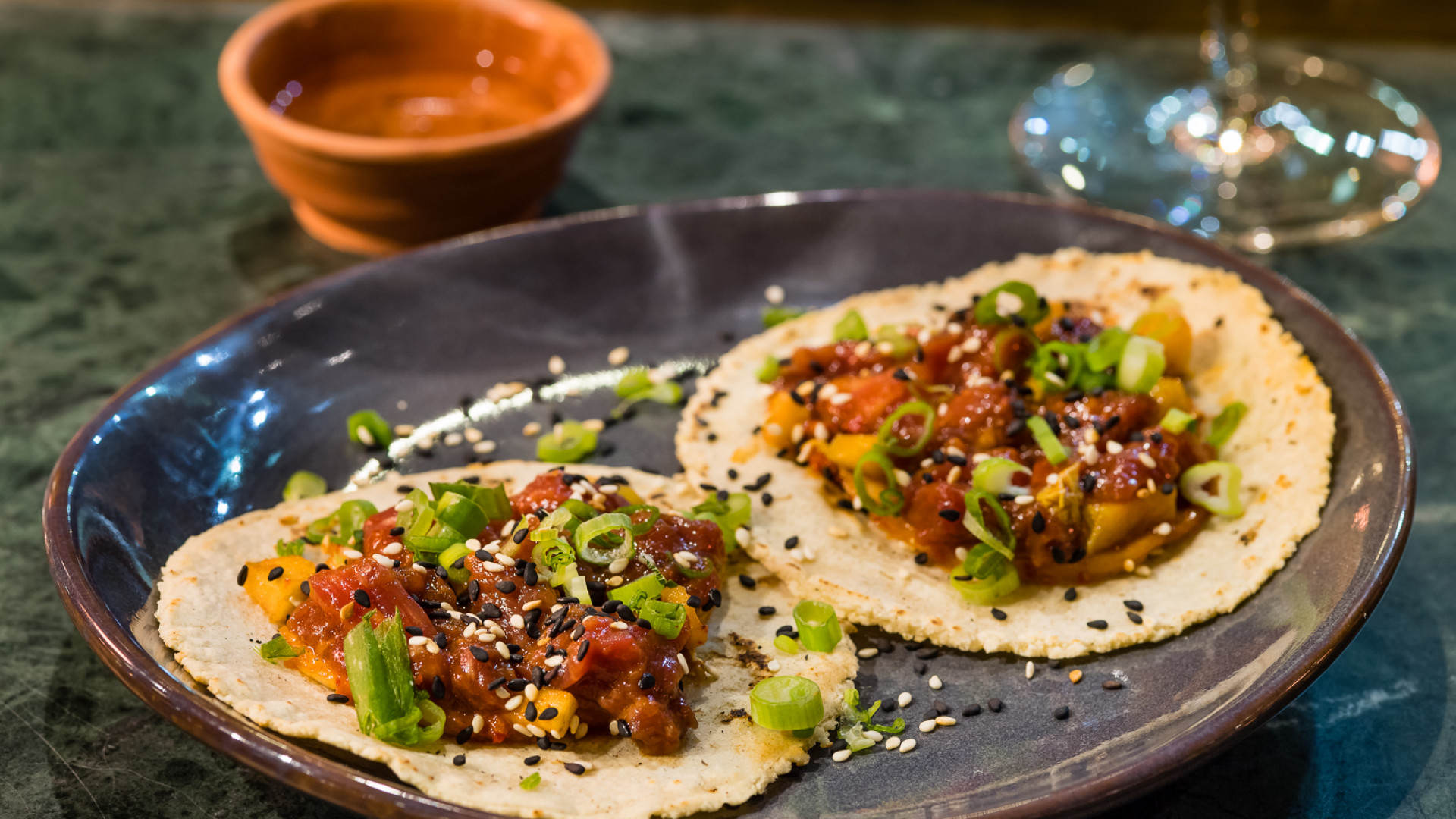 Soy-cured beef tacos at Temper, Neil Rankin's new restaurant