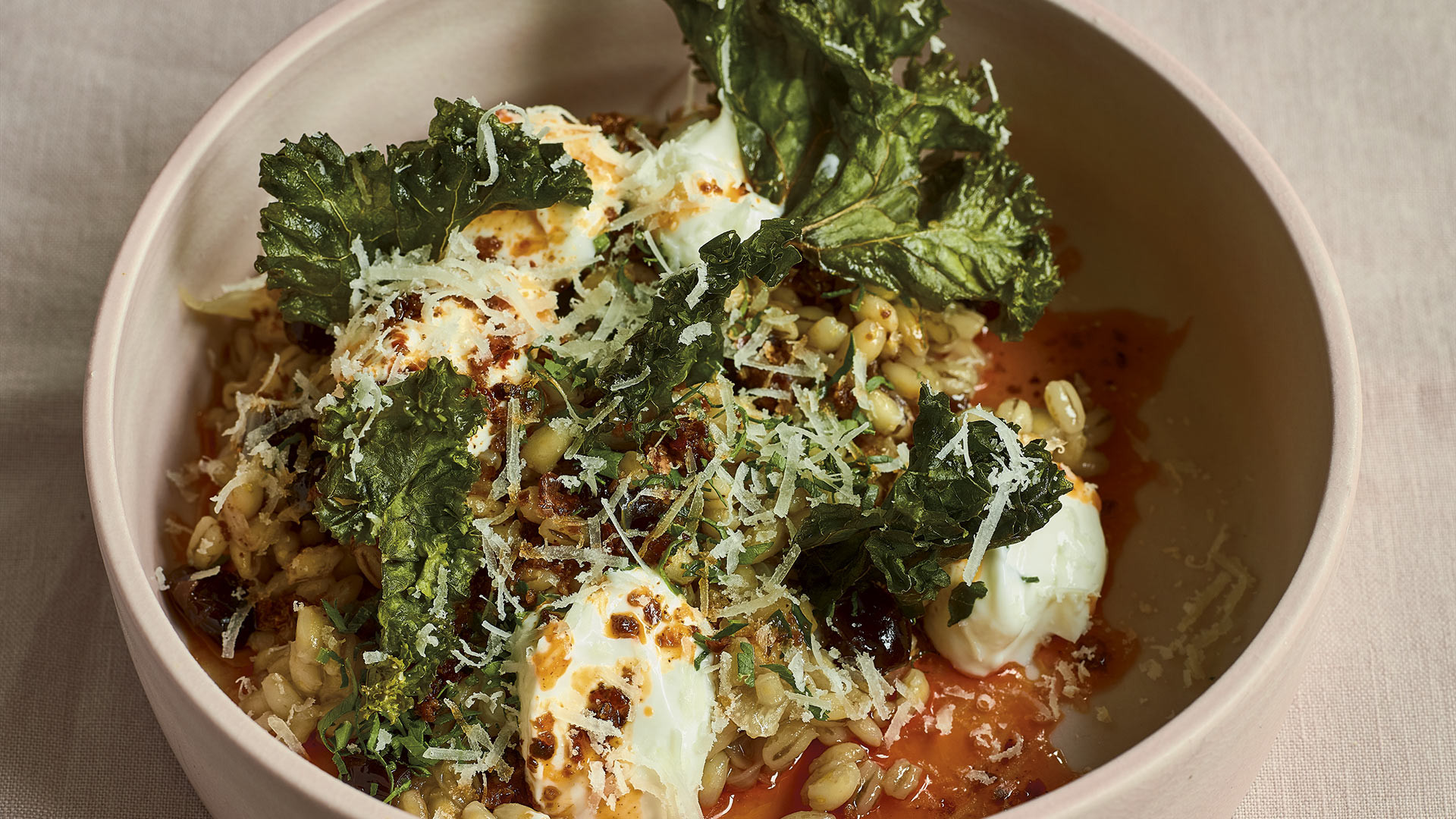 Sour cherry pearl barley, crispy kale, yoghurt, chilli butter and sheep's cheese