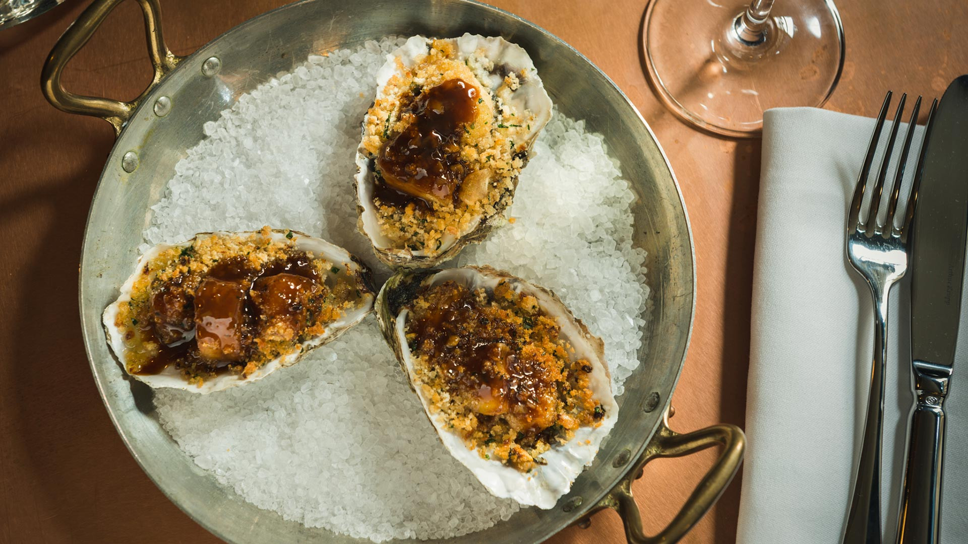 Roasted oysters with bone marrow at Hawksmoor