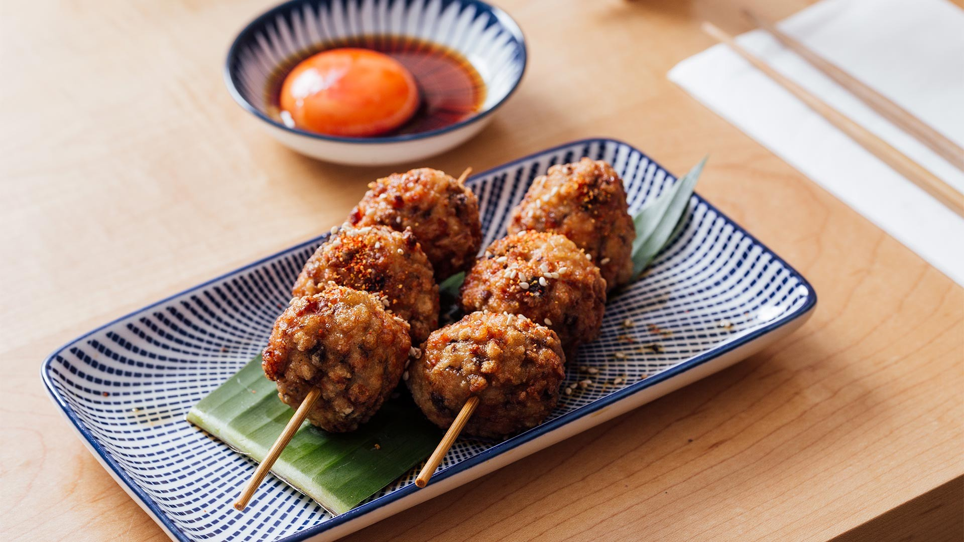 Chicken yakitori skewers at Machiya