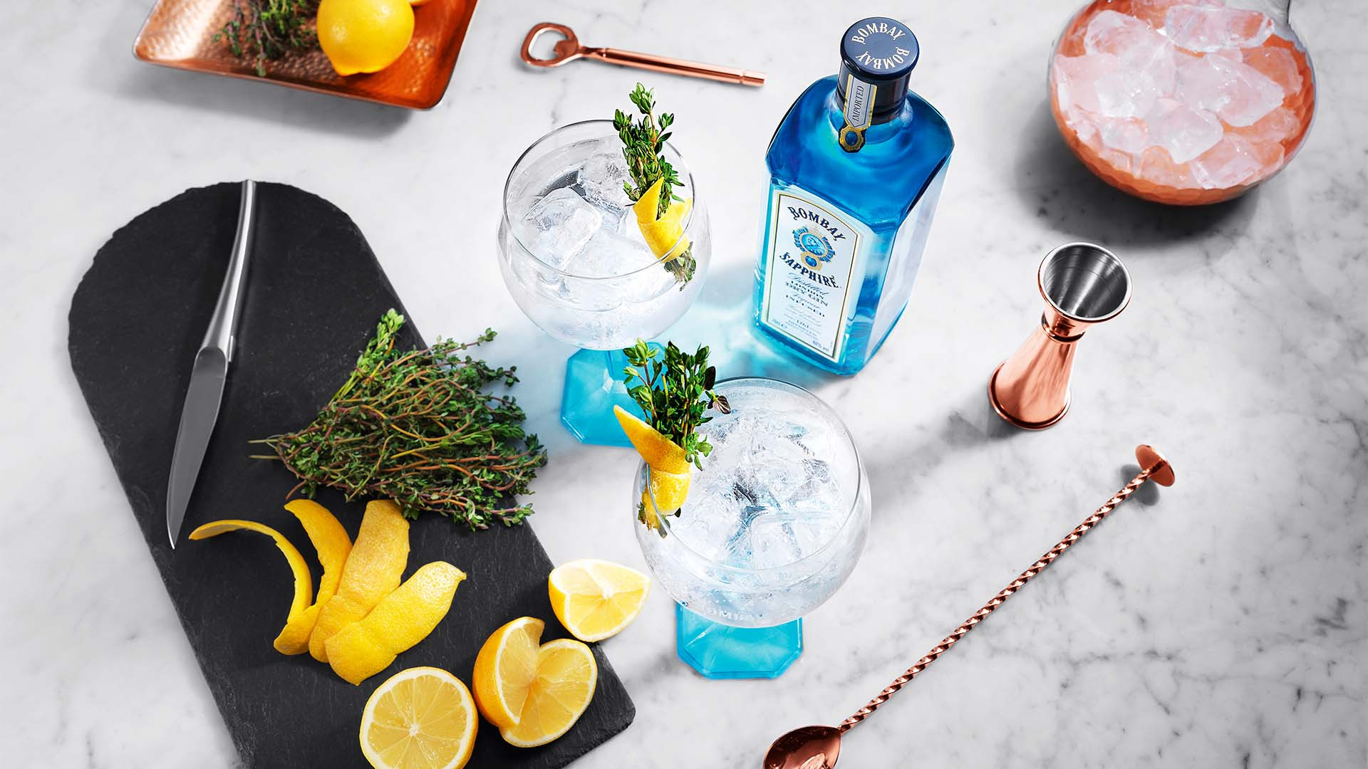 Gin and tonic with garnish, Bombay Sapphire