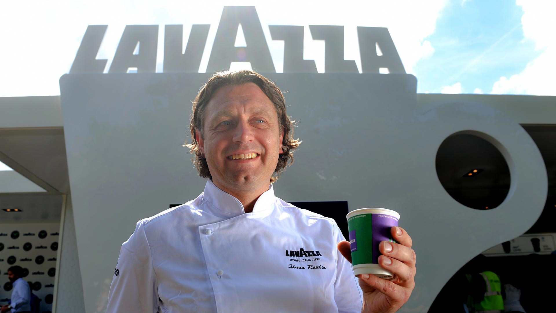 Michelin starred chef Shaun Rankin enjoys a Lavazza coffee at Wimbledon 2017