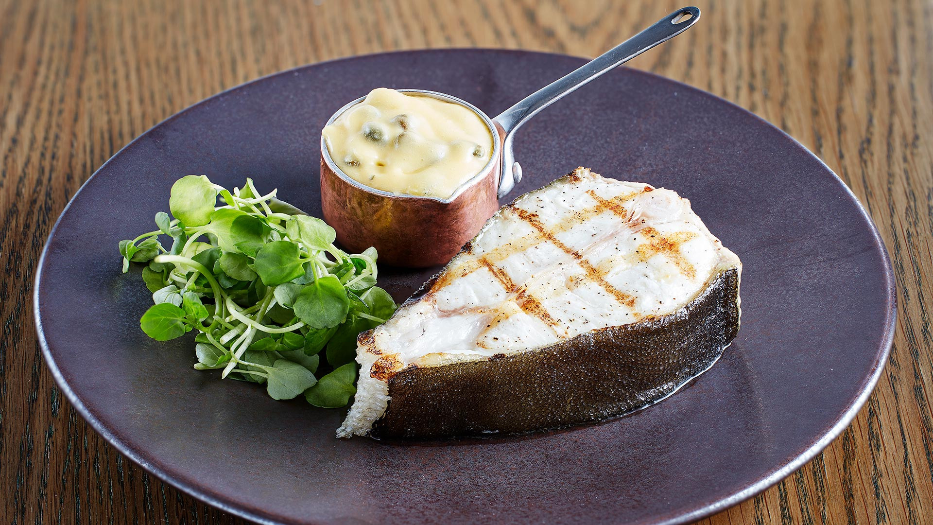 Grilled Isle of Gingha halibut with a traditional tartare hollandaise from the Chop House