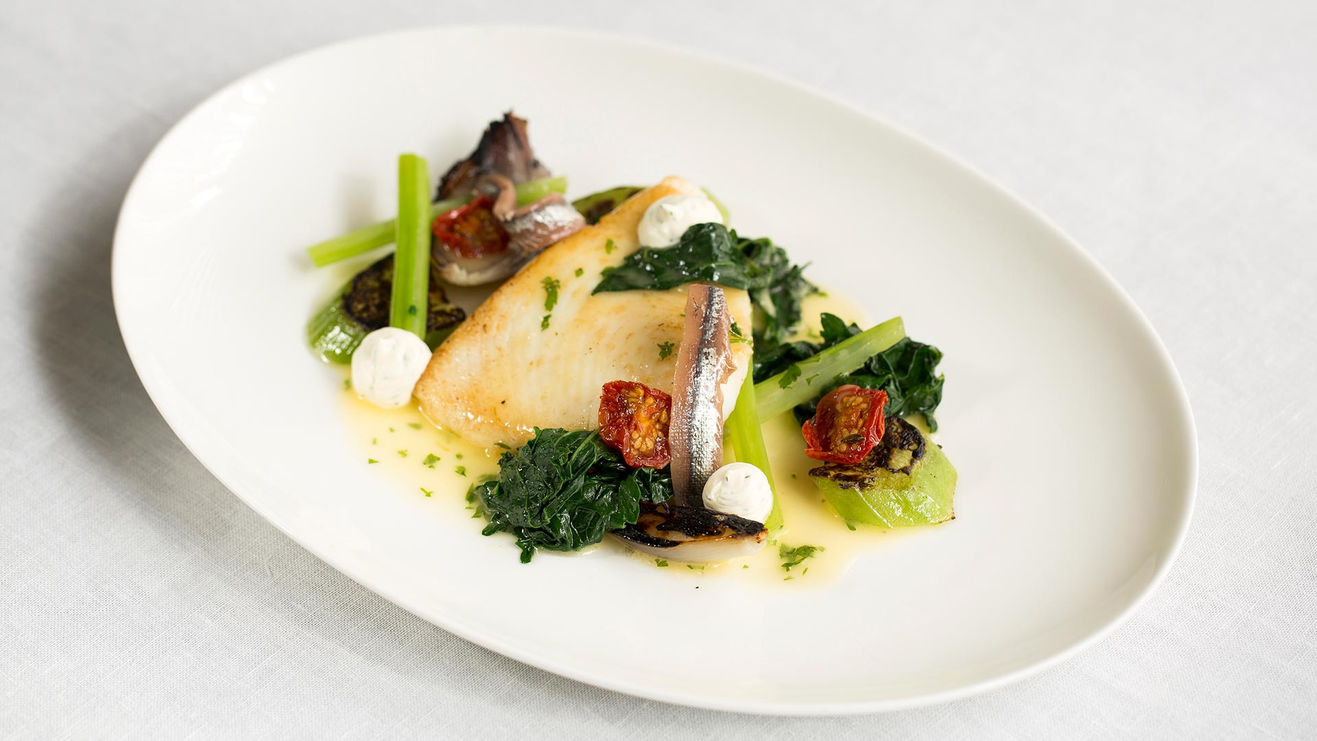 Halibut, cime di rapa (broccoli raab), anchovy, cucumber and dill créme fraîche from Michelin-starred Murano