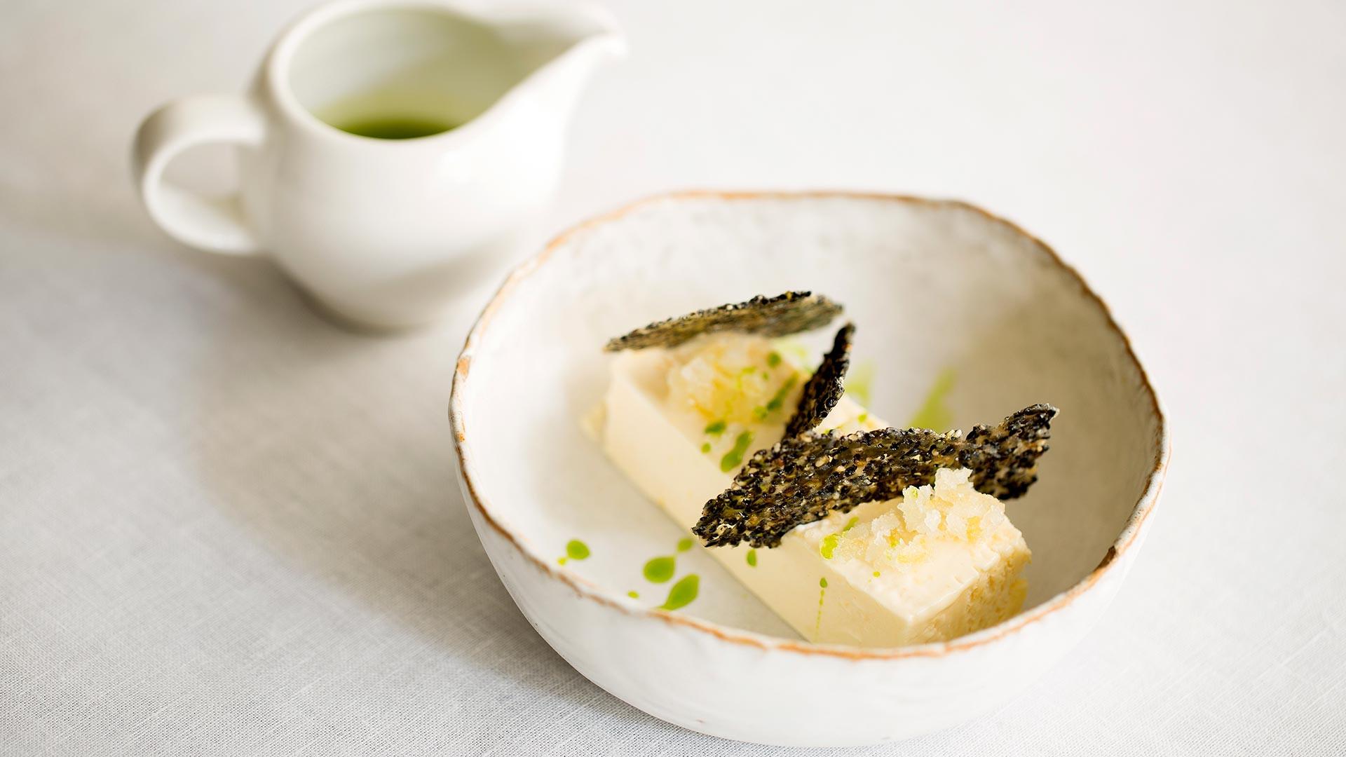 Amalfi lemon semifreddo, black sesame, limoncello and cucumber from Michelin-starred Murano
