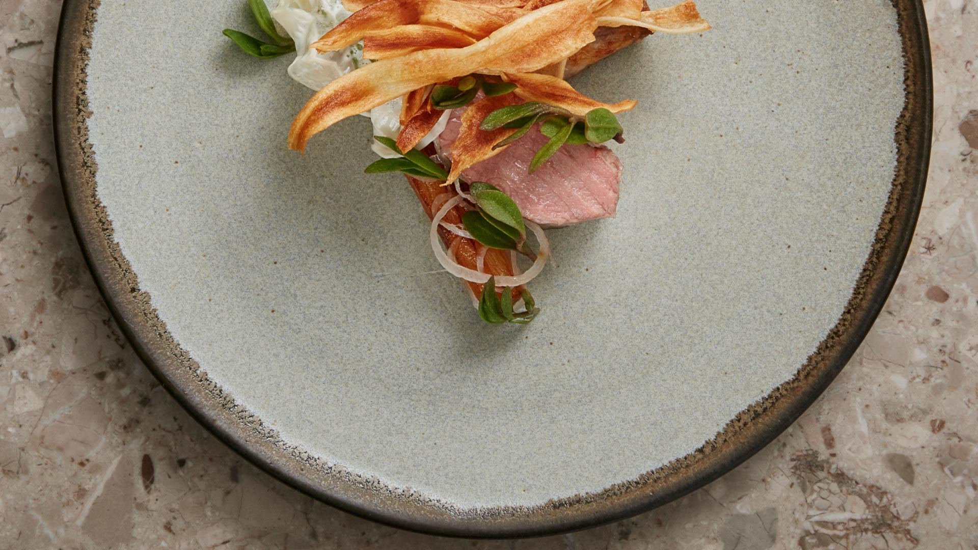 Lamb, salsify, king oyster, pickled shallot and milk skin