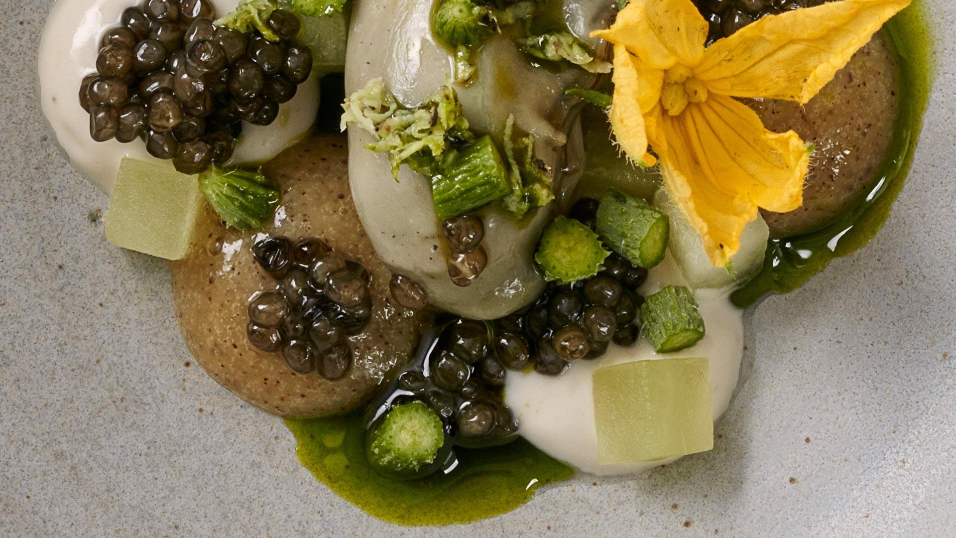 Rock oyster, oscietra caviar, cucumber and kiwi