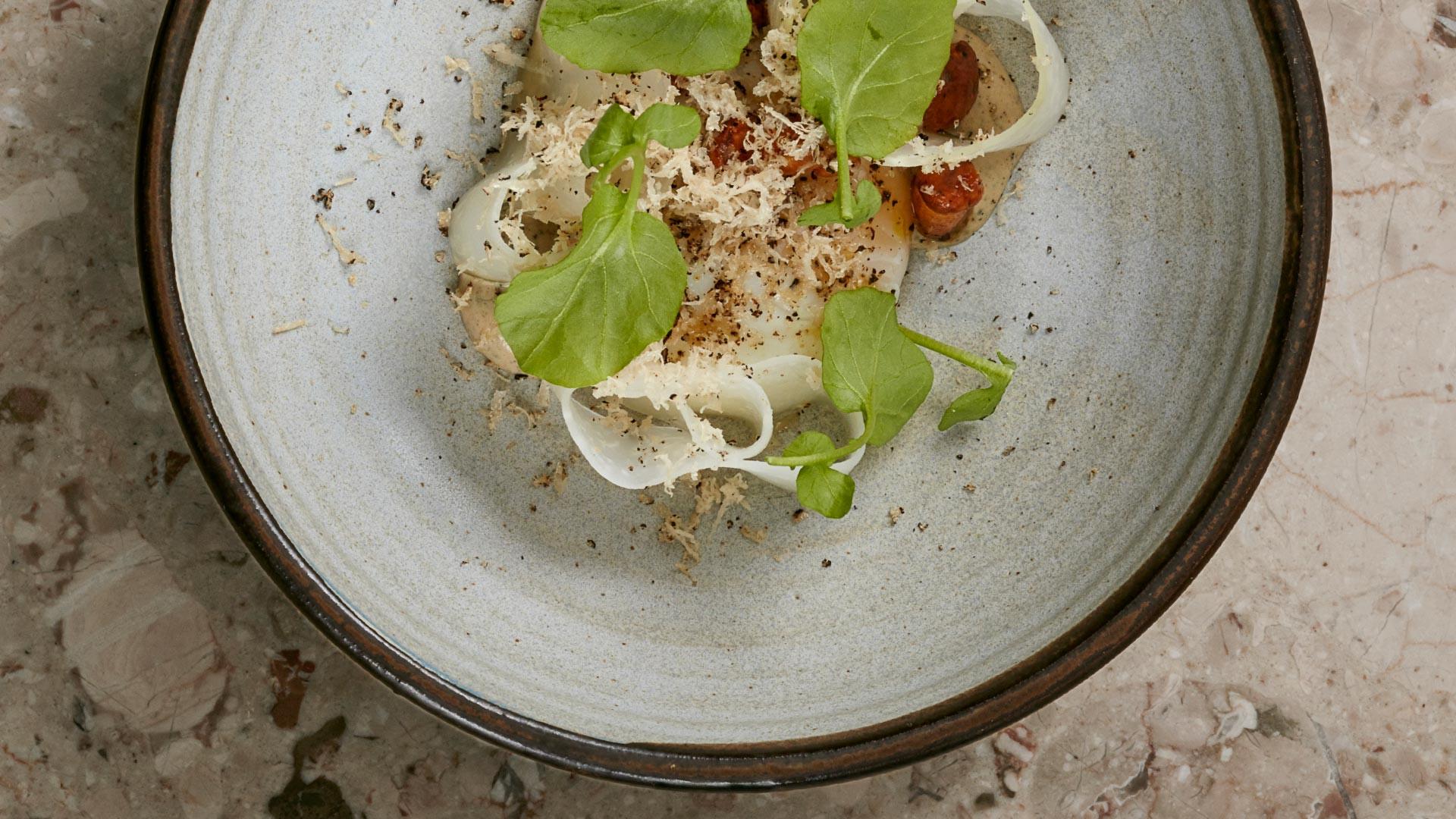 Pheasant egg, kohlrabi, girolles and truffle