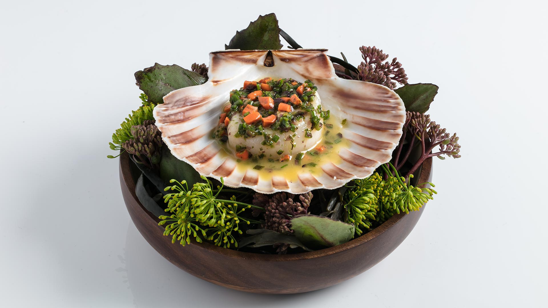 Isle of Mull scallop cooked over wood
