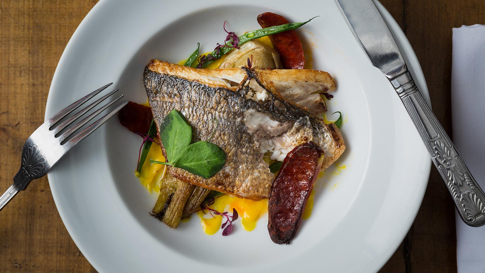Little Quiet's pan-fried sea bream with chorizo, baked fennel and saffron aioli