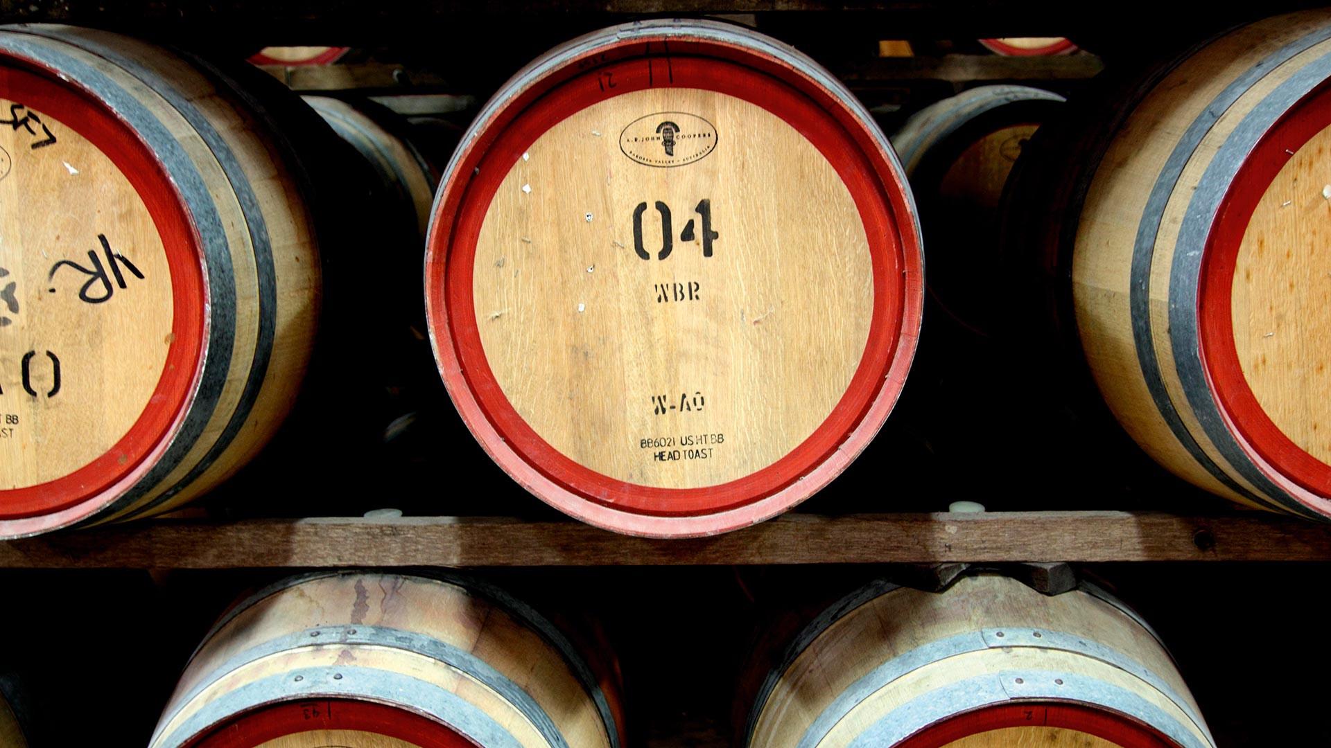 South Australian wine fermenting in barrels