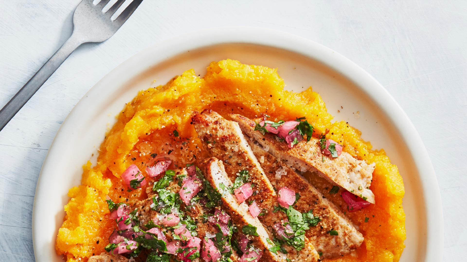 Healthyish's cumin pork cutlets with smashed butternut squash