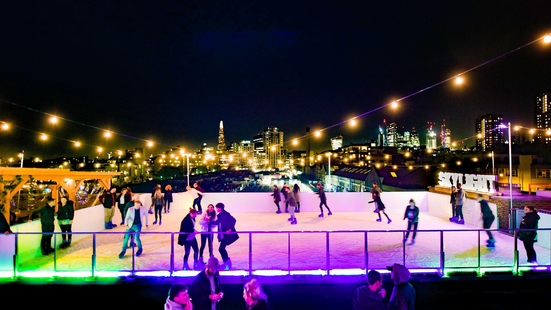 Skylight ice skating rink