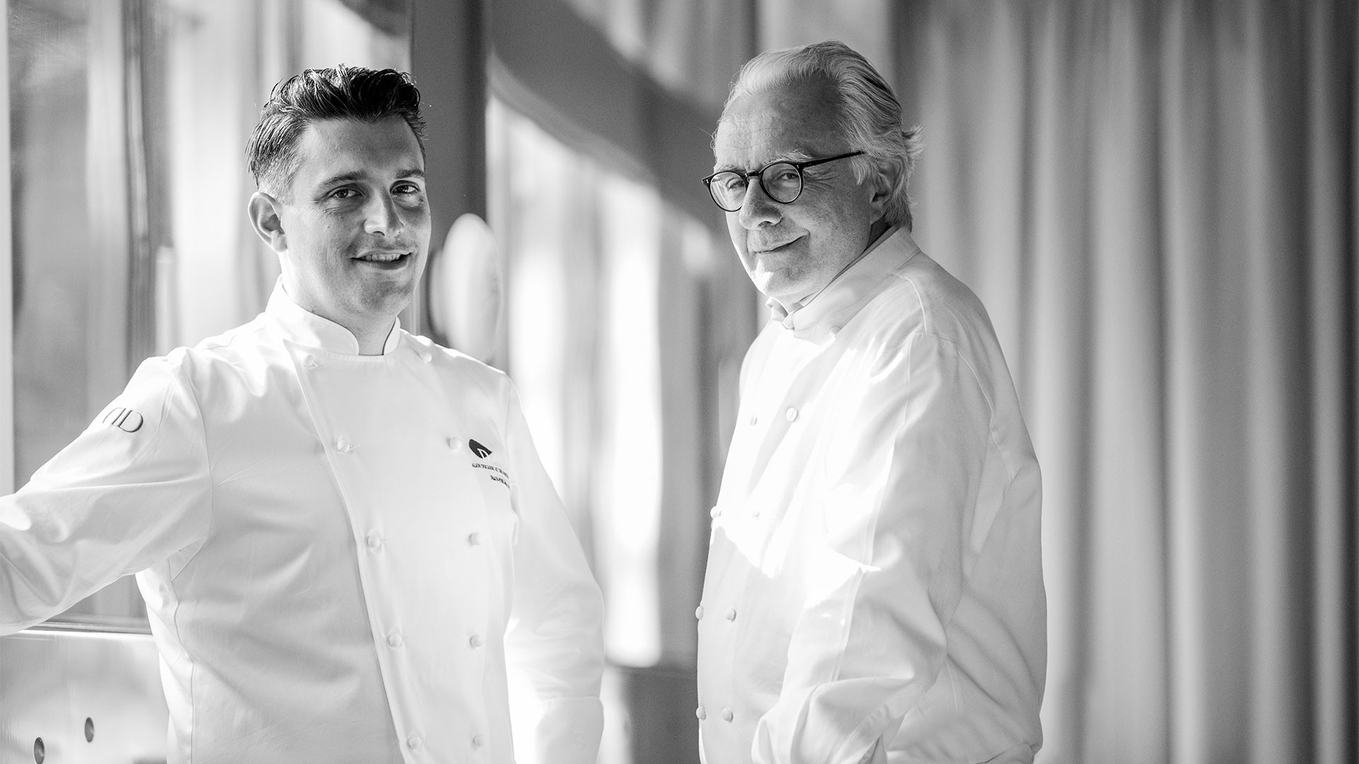 Alain Ducasse with executive chef Jean-Philippe Blondet