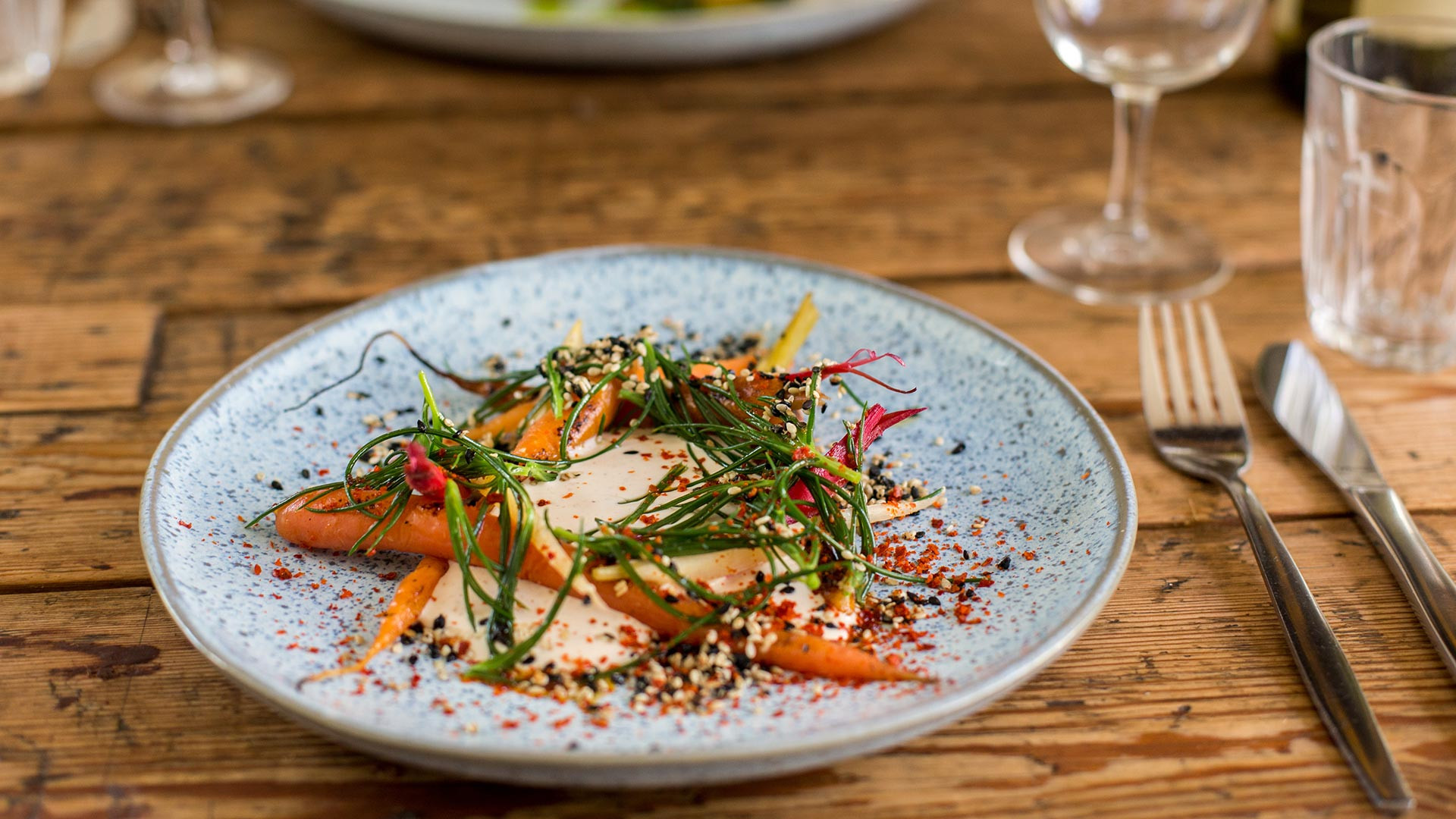 Carrot, smoked cod's roe, Dulwich monk's beard and candied sesame
