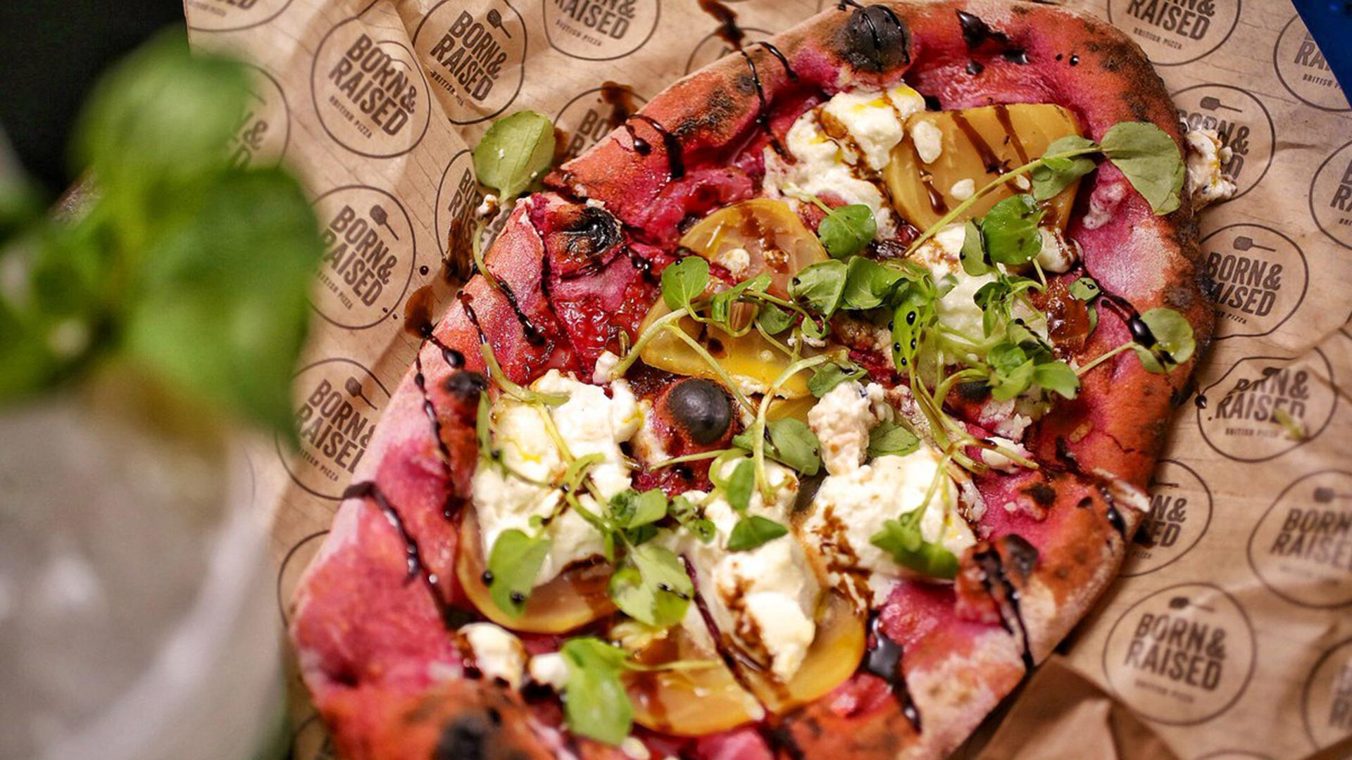 Born & Raised's pizza with Somerset goats' cheese with caramelised red onion on beetroot-infused dough