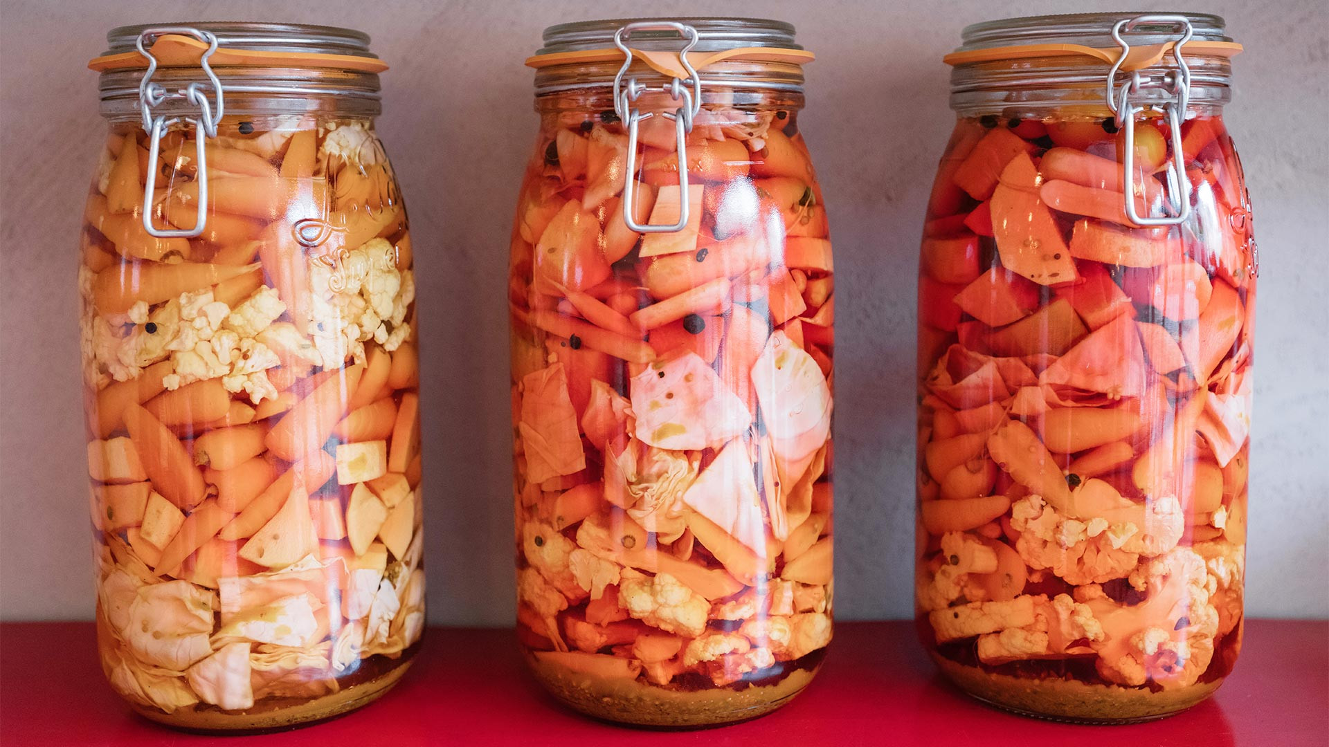 Spicy house-made pickles at Villa Mama's